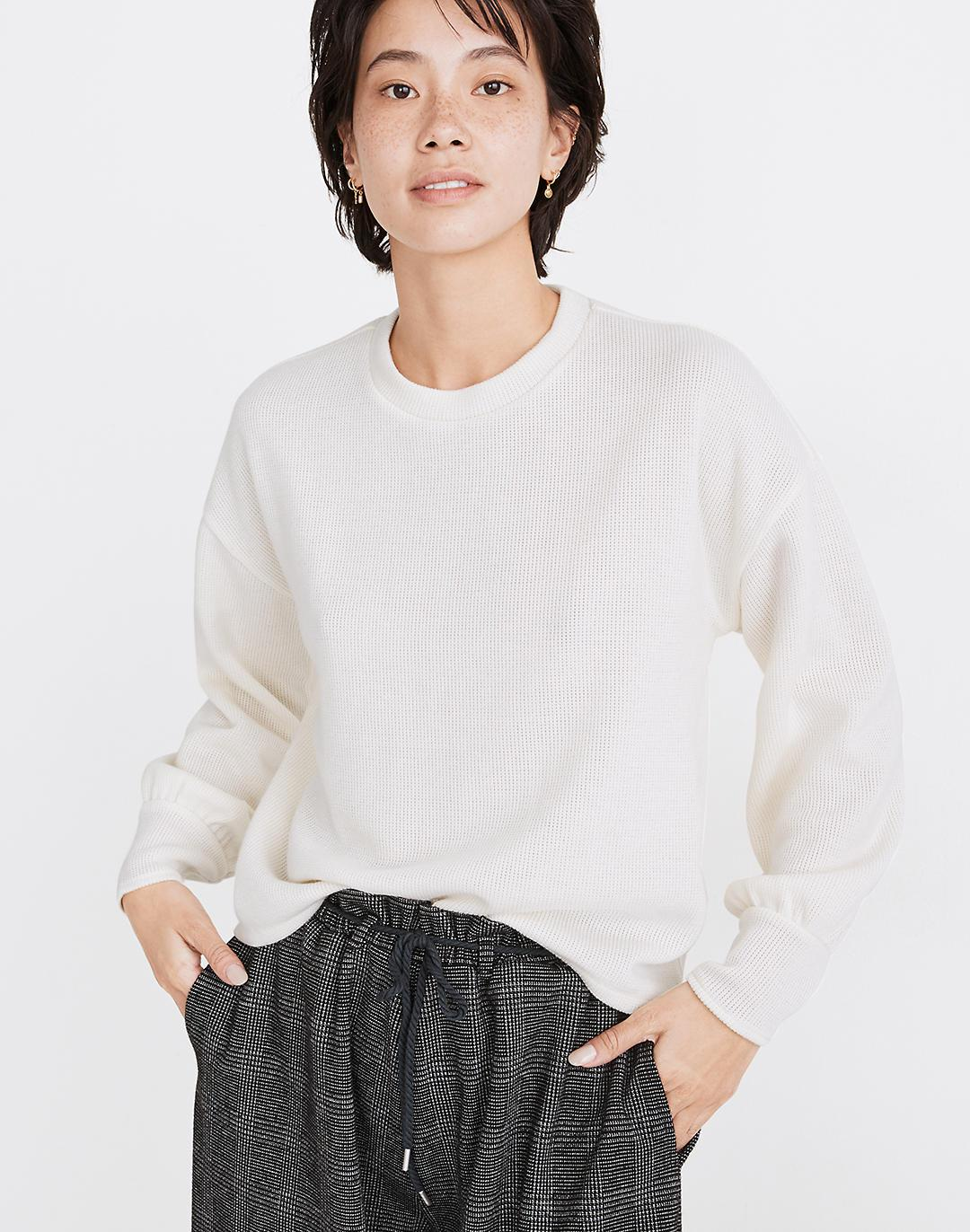 Brushed Knit Puff-Sleeve Top