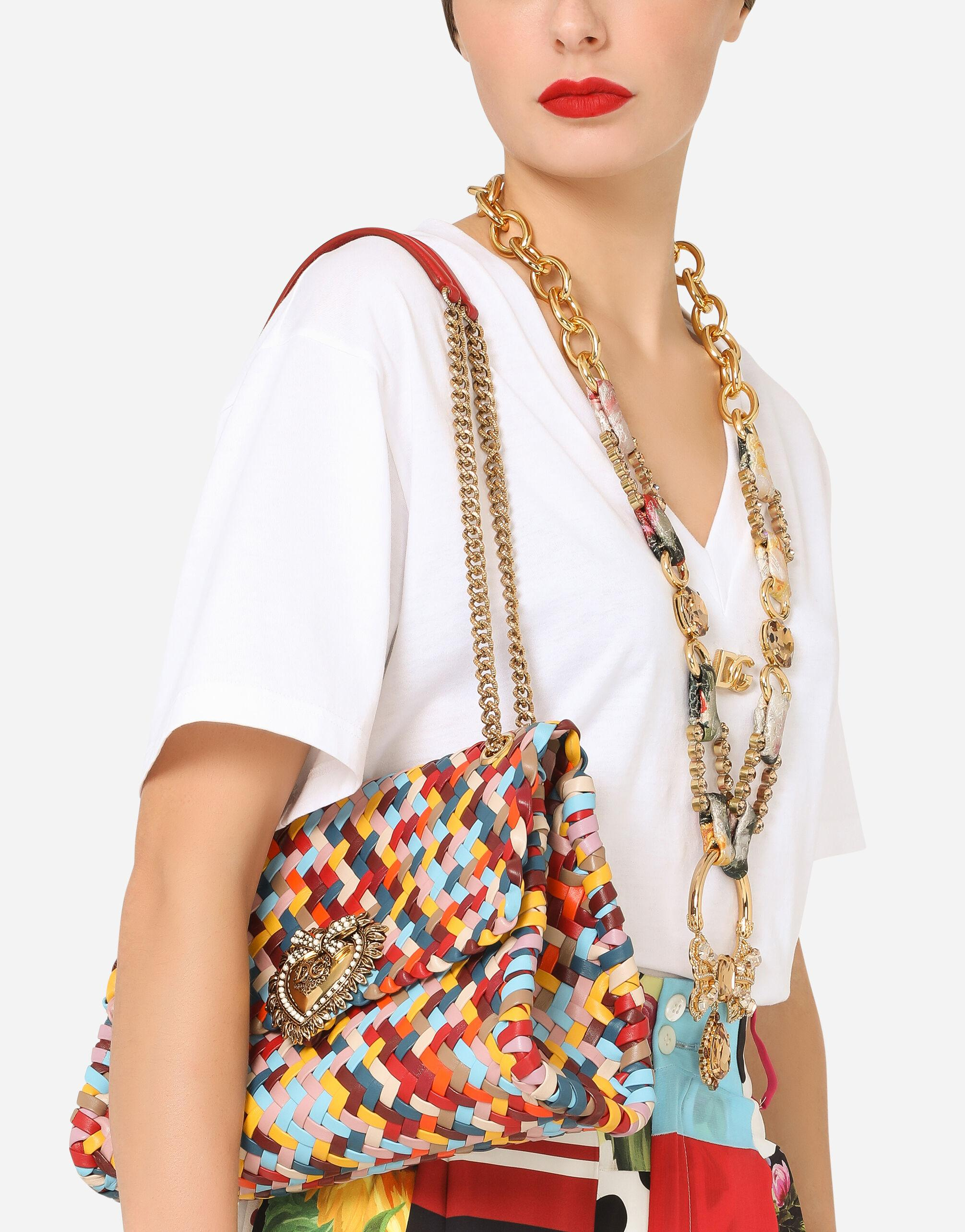 Large Devotion shoulder bag in multi-colored woven nappa leather 5