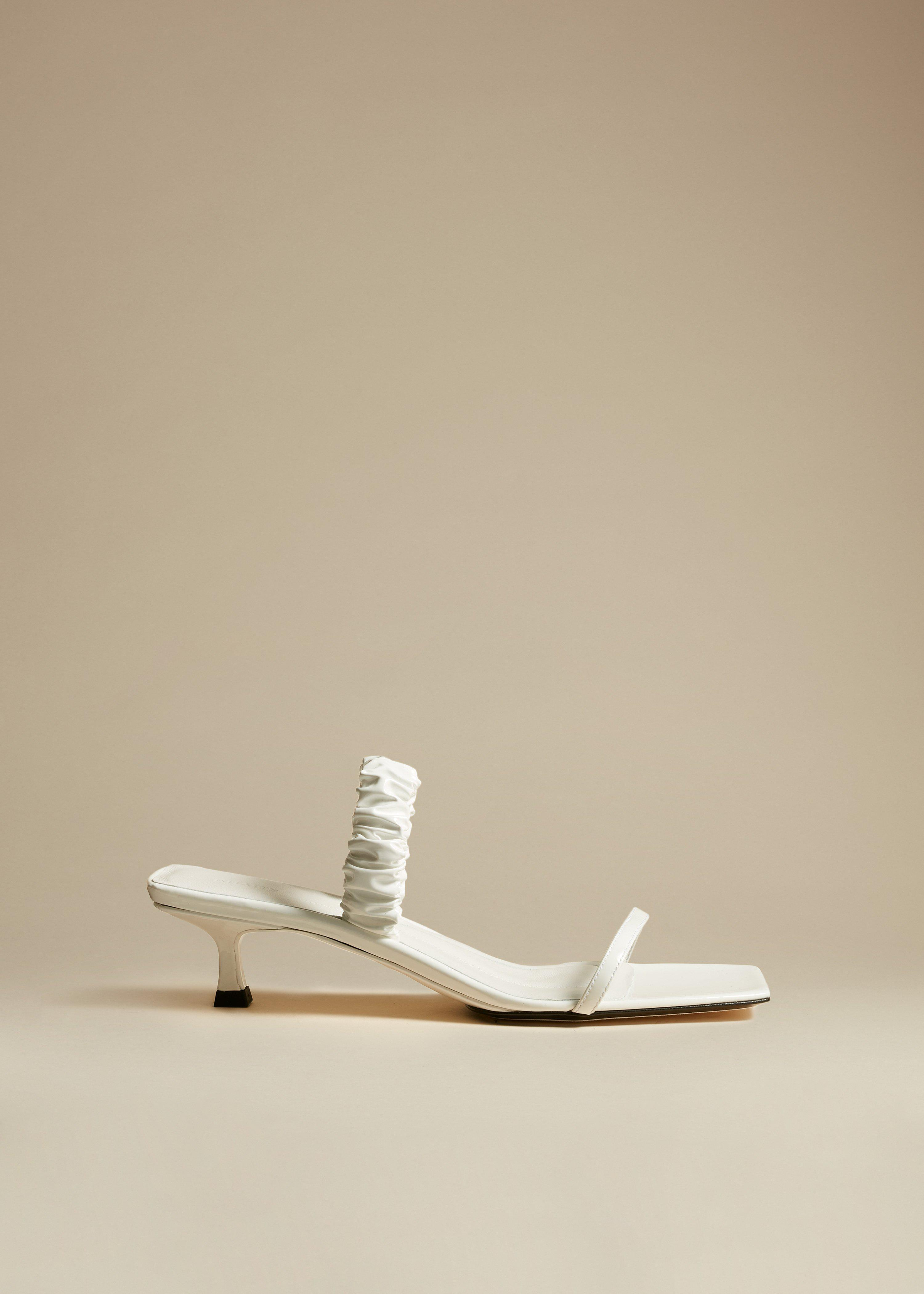 The Georgia Heel in White Patent Leather