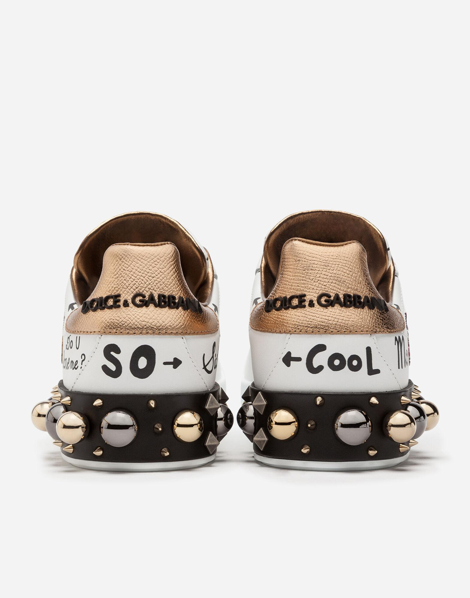 Printed calfskin Portofino sneakers with patch and embroidery 4