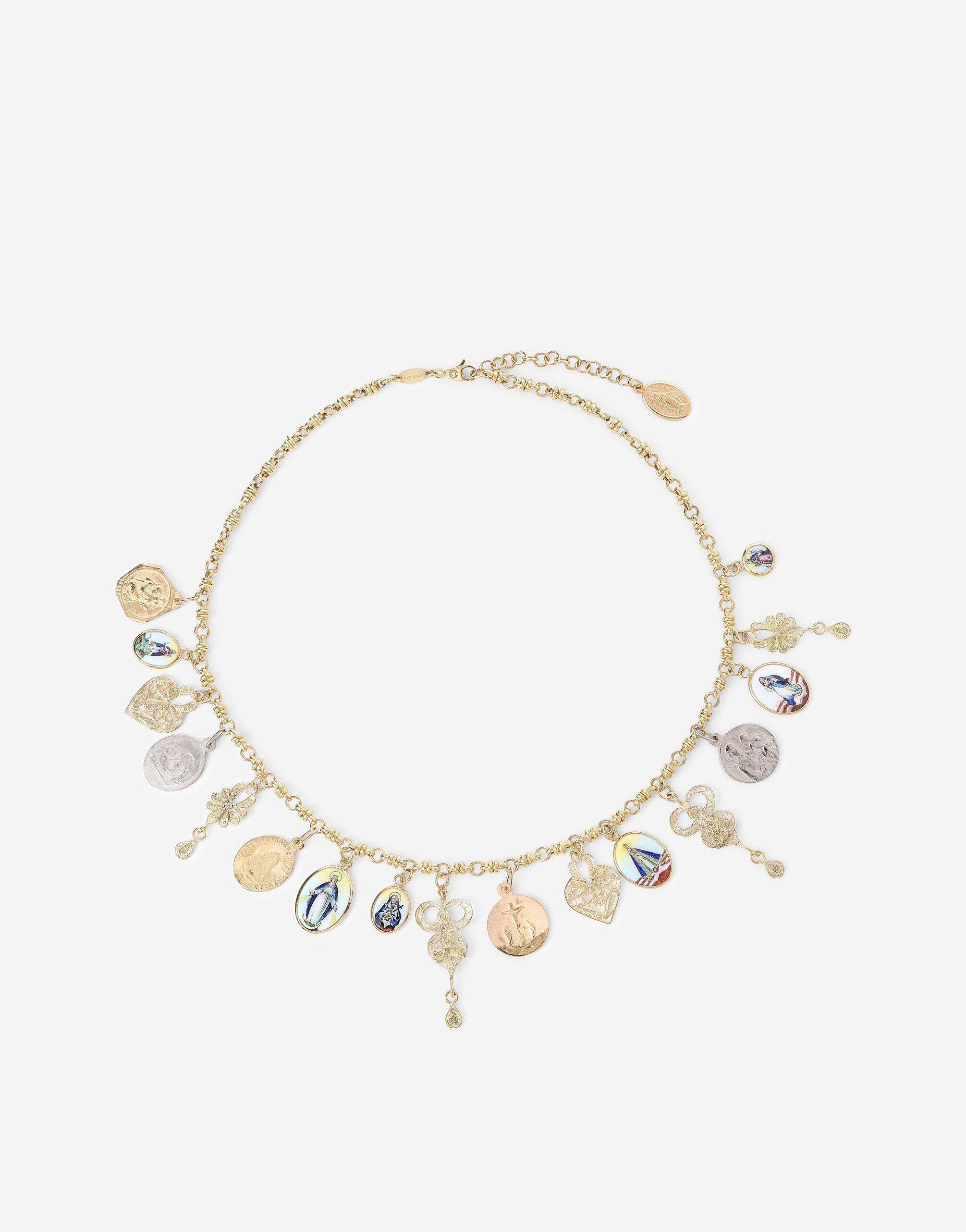 D.D. necklace in yellow 18kt gold with antique ceramic miniatures