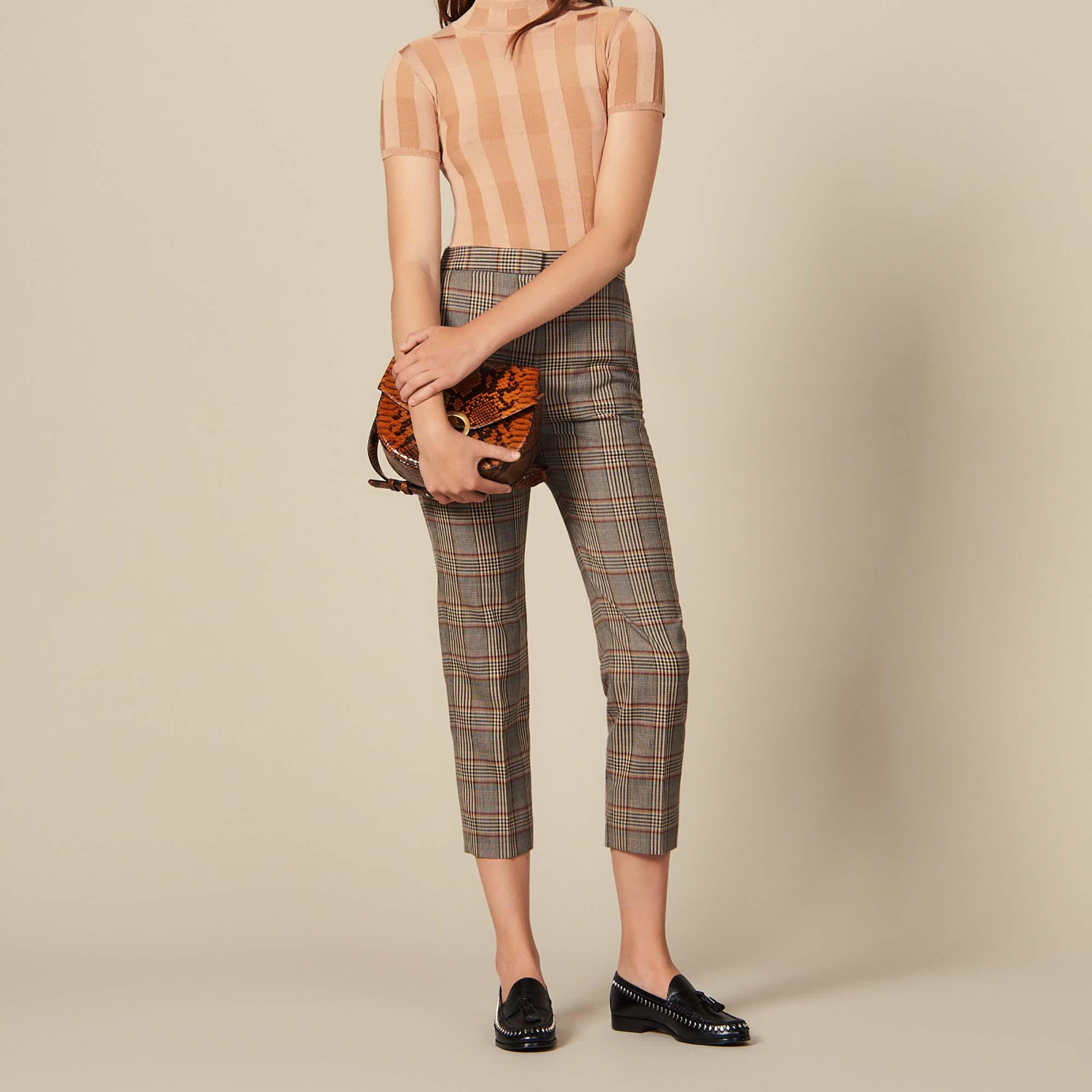 Checked straight-cut trousers