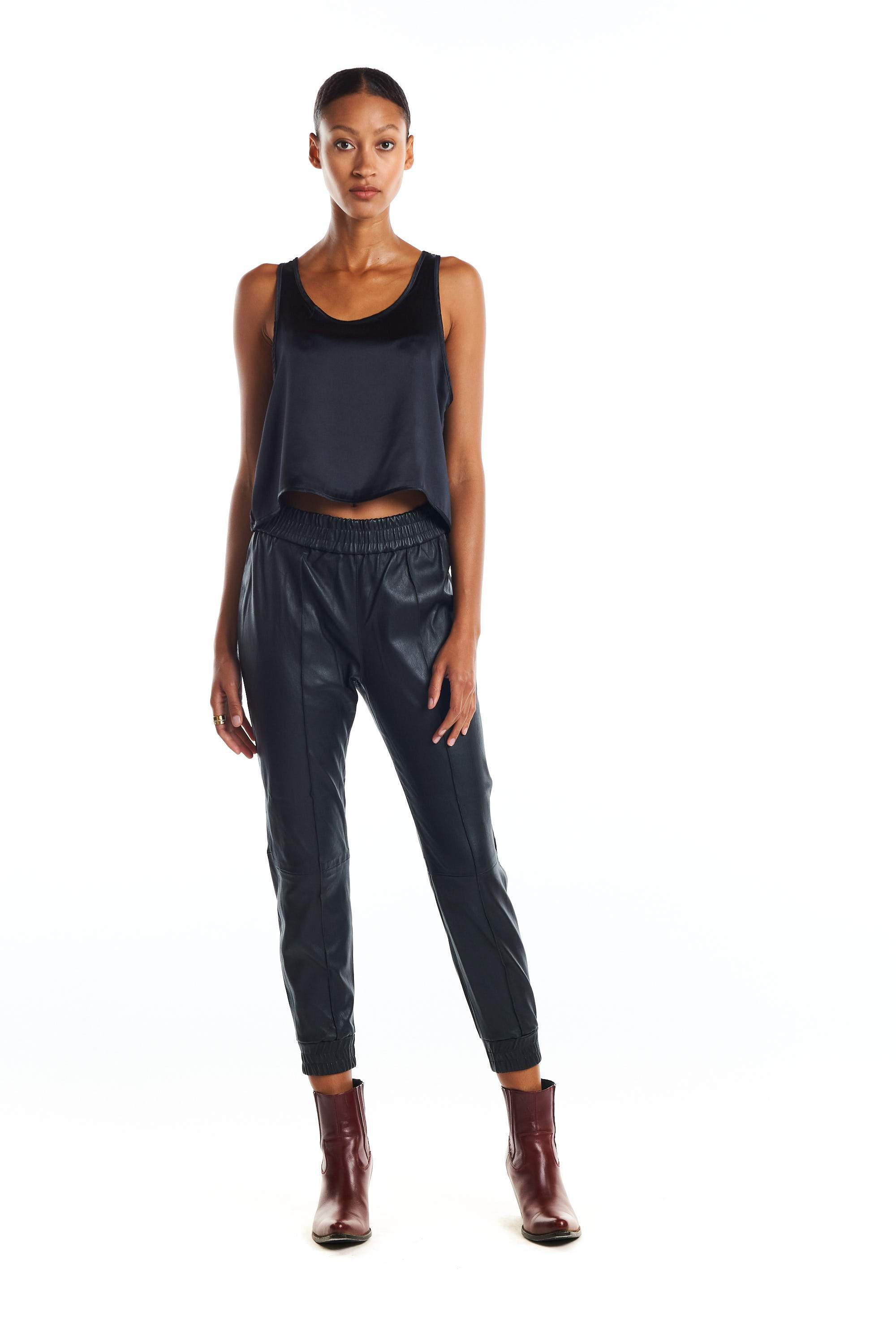 Black Loose Fit Leather Jogger