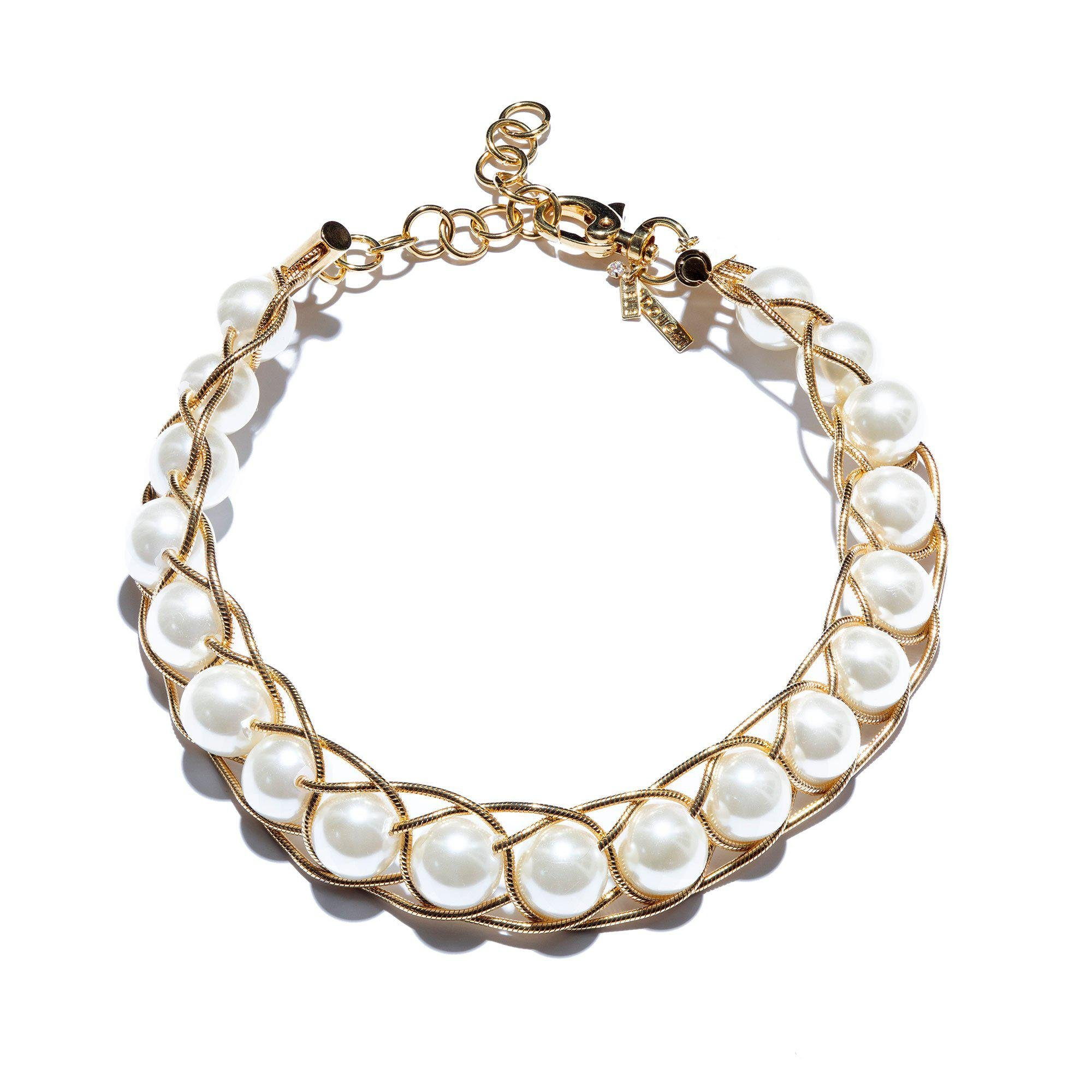 IVORY BRAIDED PEARL COLLAR NECKLACE