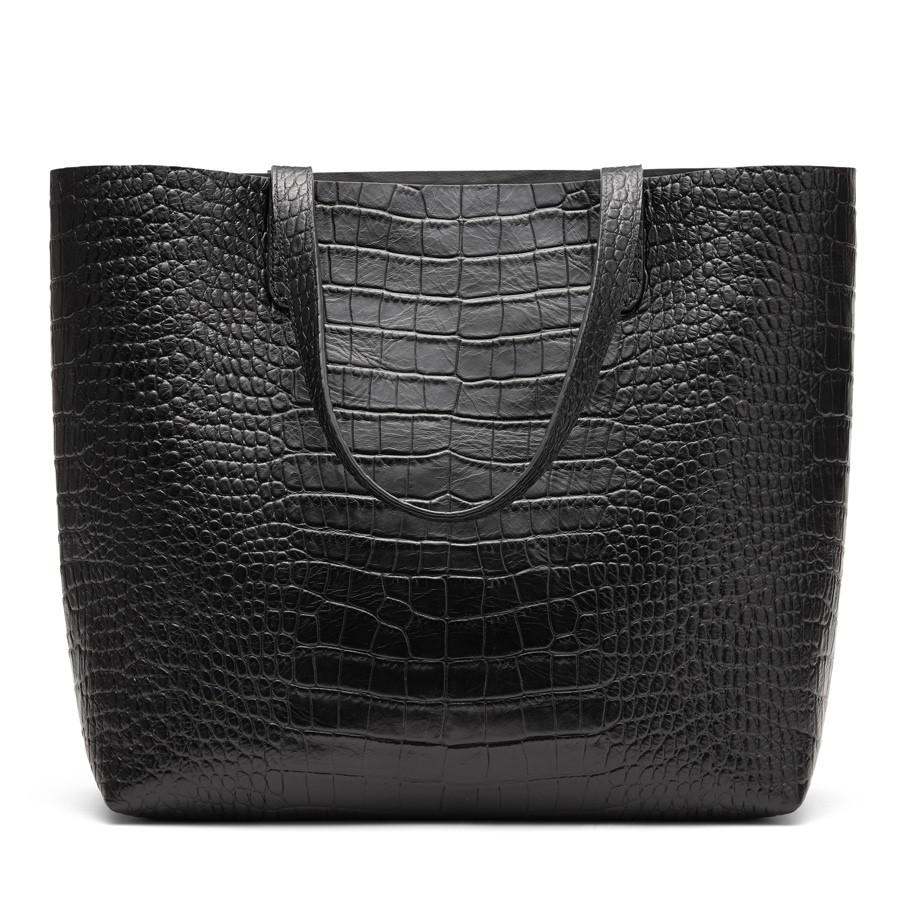 Women's Classic Structured Leather Tote Bag in Textured Black | Croc-Embossed by Cuyana