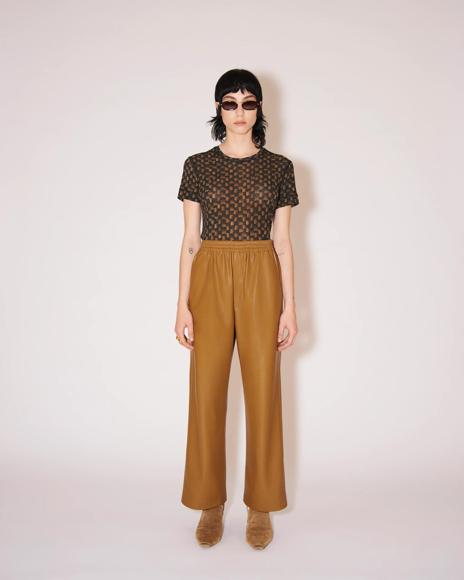 ODESSA - Vegan leather casual pants - Curry