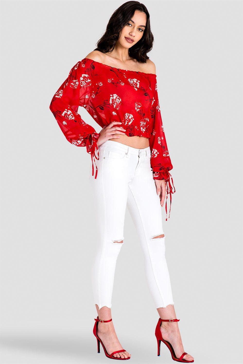 Marina Off Shoulder Tie Sleeve Red Blouse 5