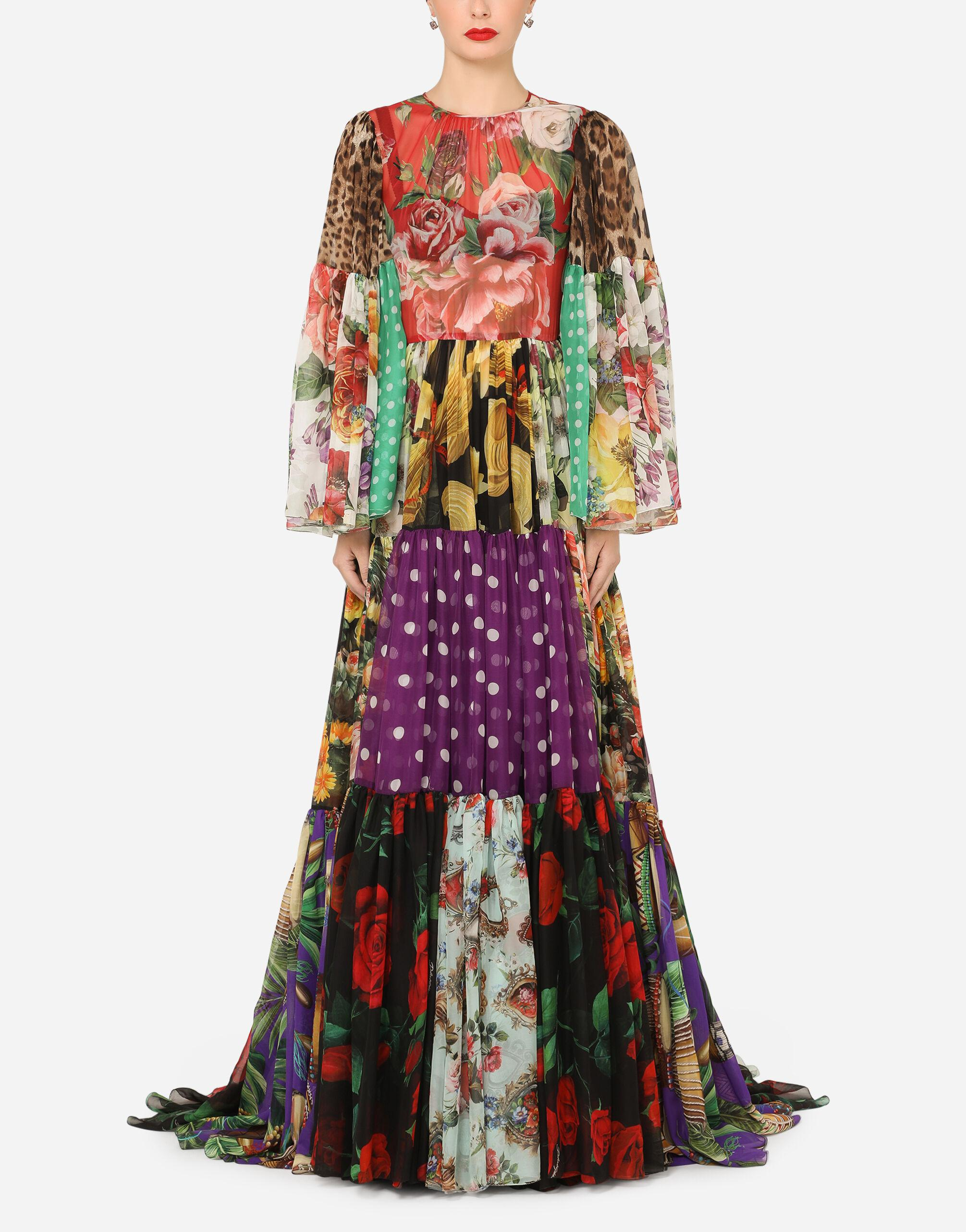 Long chiffon dress with mixed patchwork prints