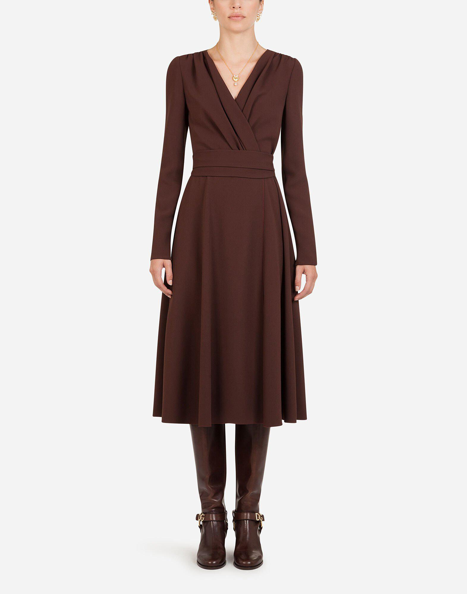 Longuette dress in cady fabric with belt
