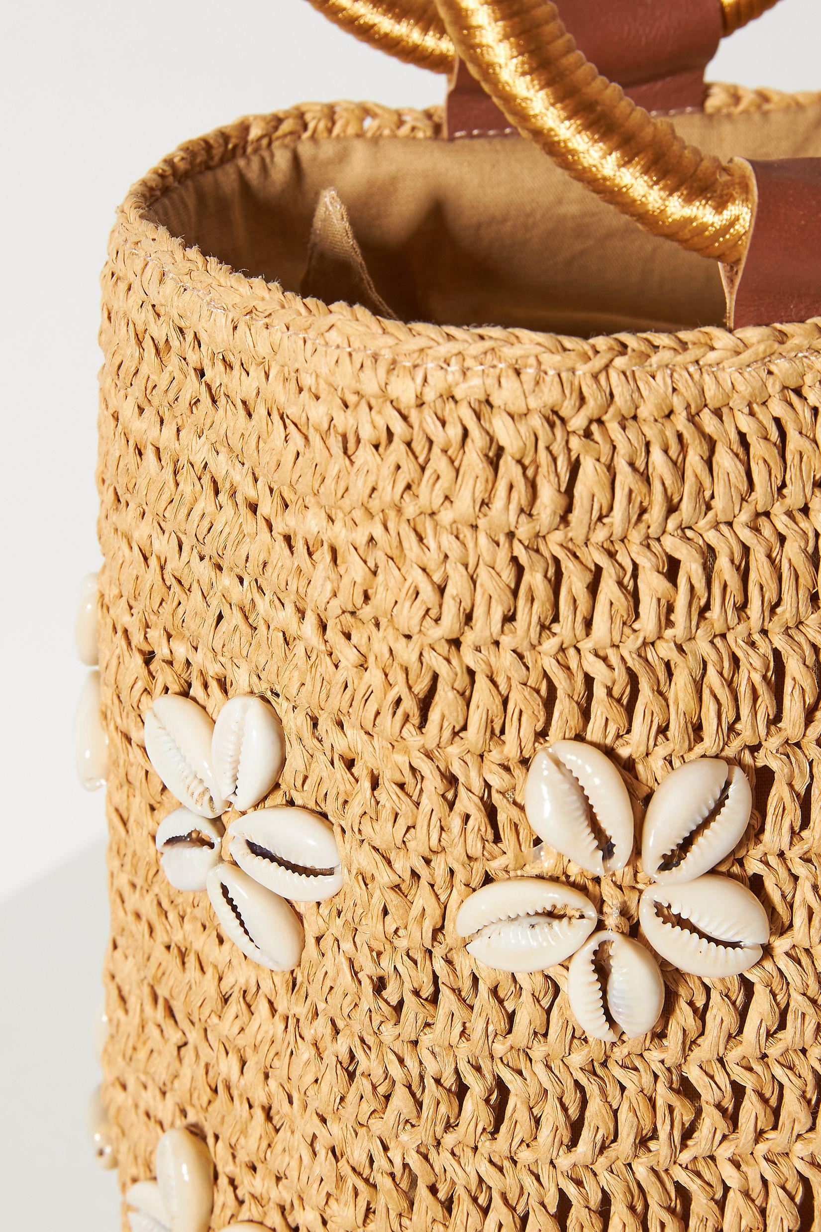 Shell-Embellished Ring Handle Clutch 2