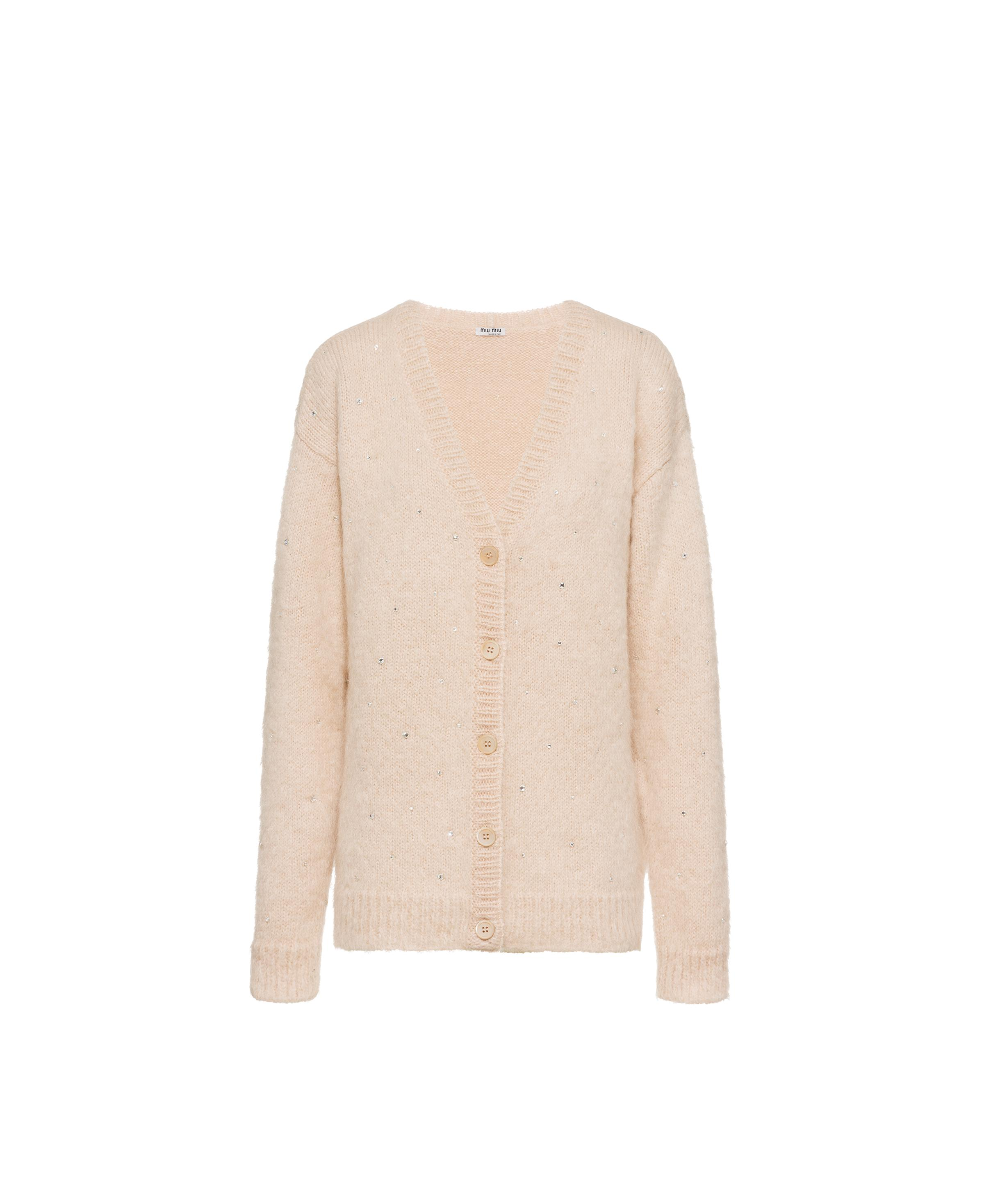 Embroidered Mohair Cardigan Women Nude Beige