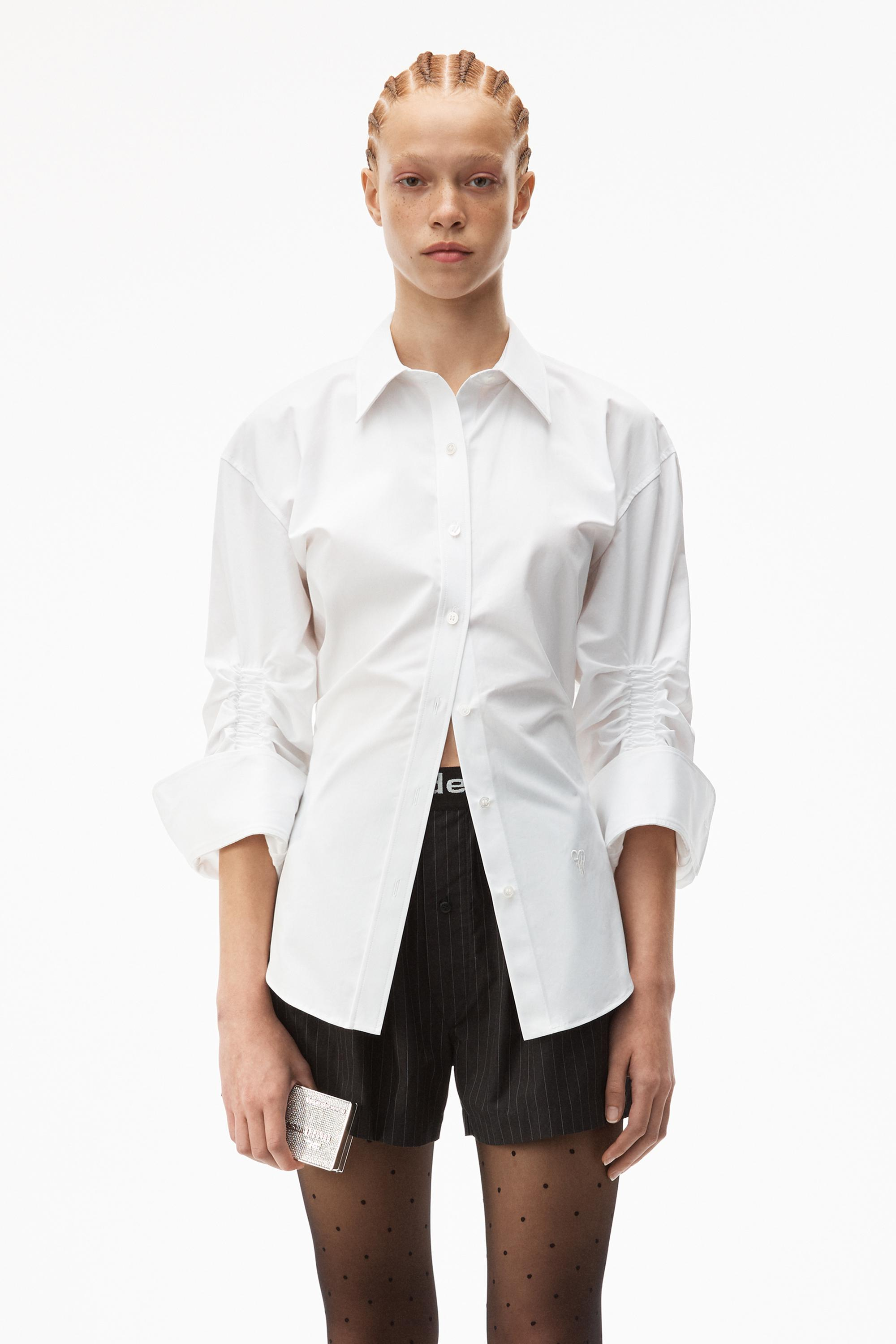 cinched button down shirt