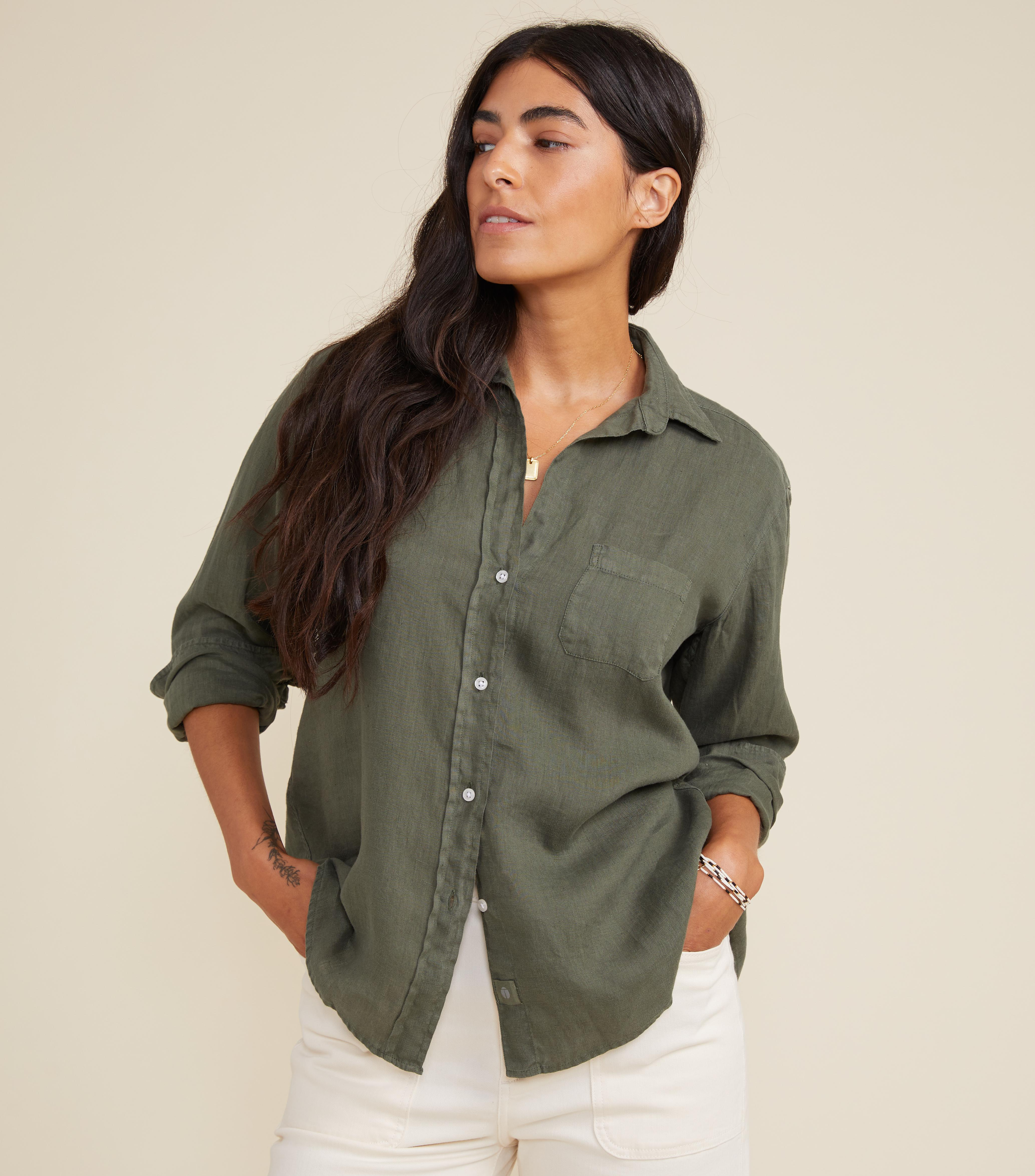 The Hero Button-Up Shirt Army Green, Tumbled Linen
