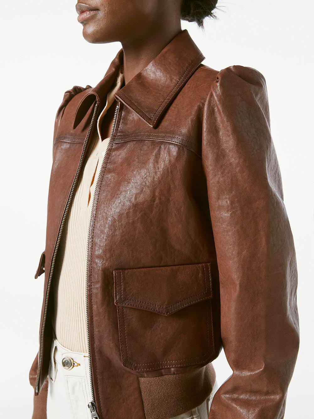 Femme Leather Bomber -- Deep Tobacco 2