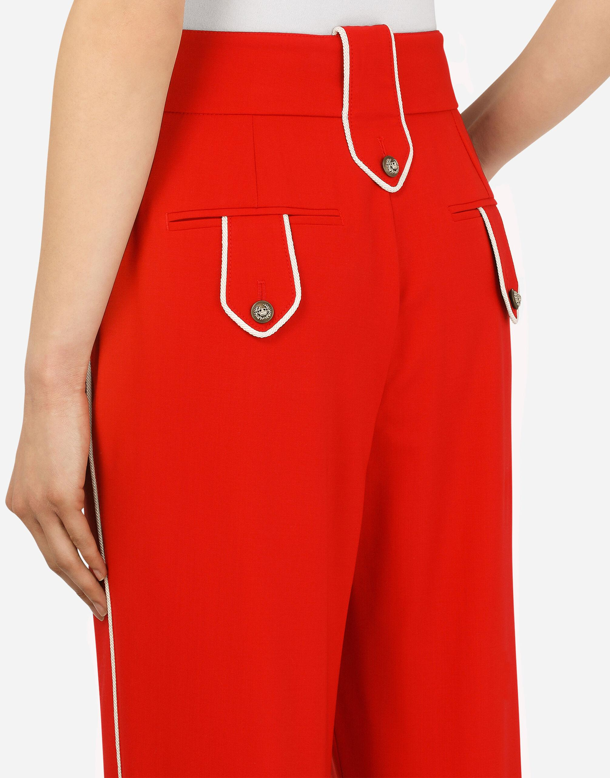 High-waisted woolen pants with heraldic buttons 5