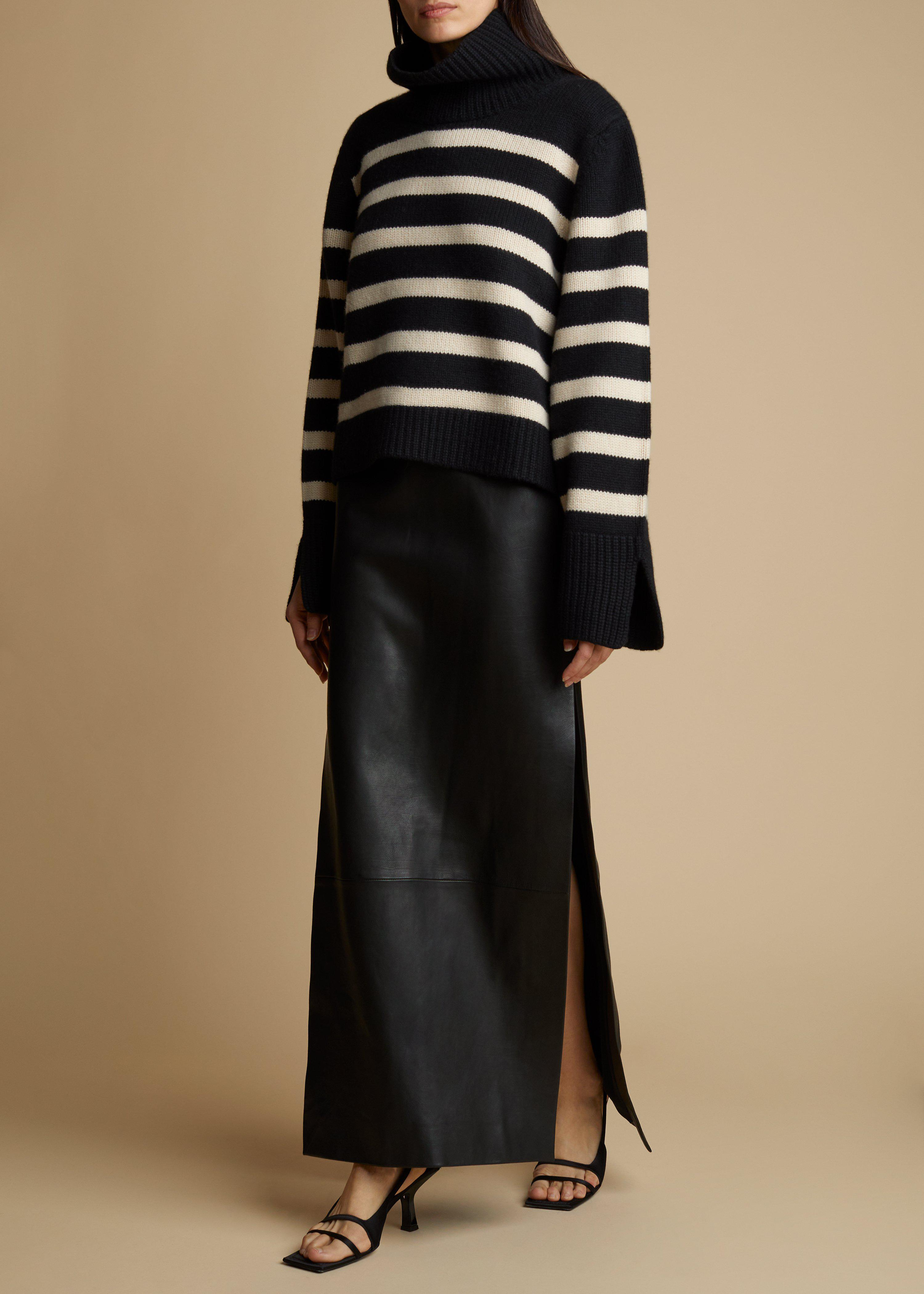 The Marion Sweater in Black and Custard Stripe