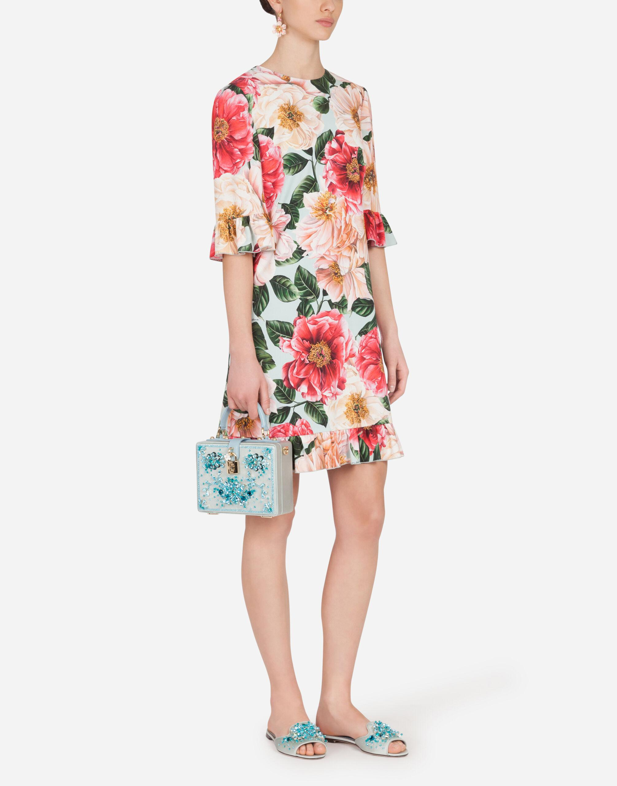 Short camellia-print cady dress with ruffle detailing 2