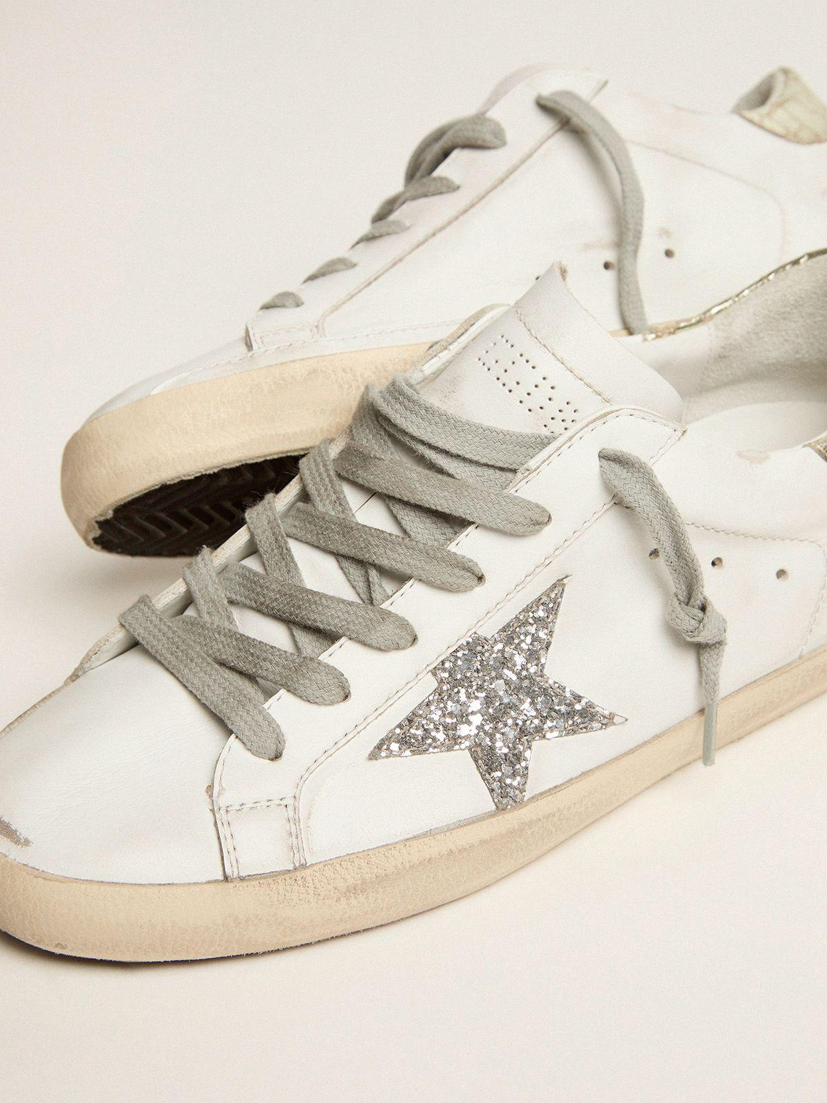 Super-Star sneakers with silver glitter star and glossy gold leather heel tab 2