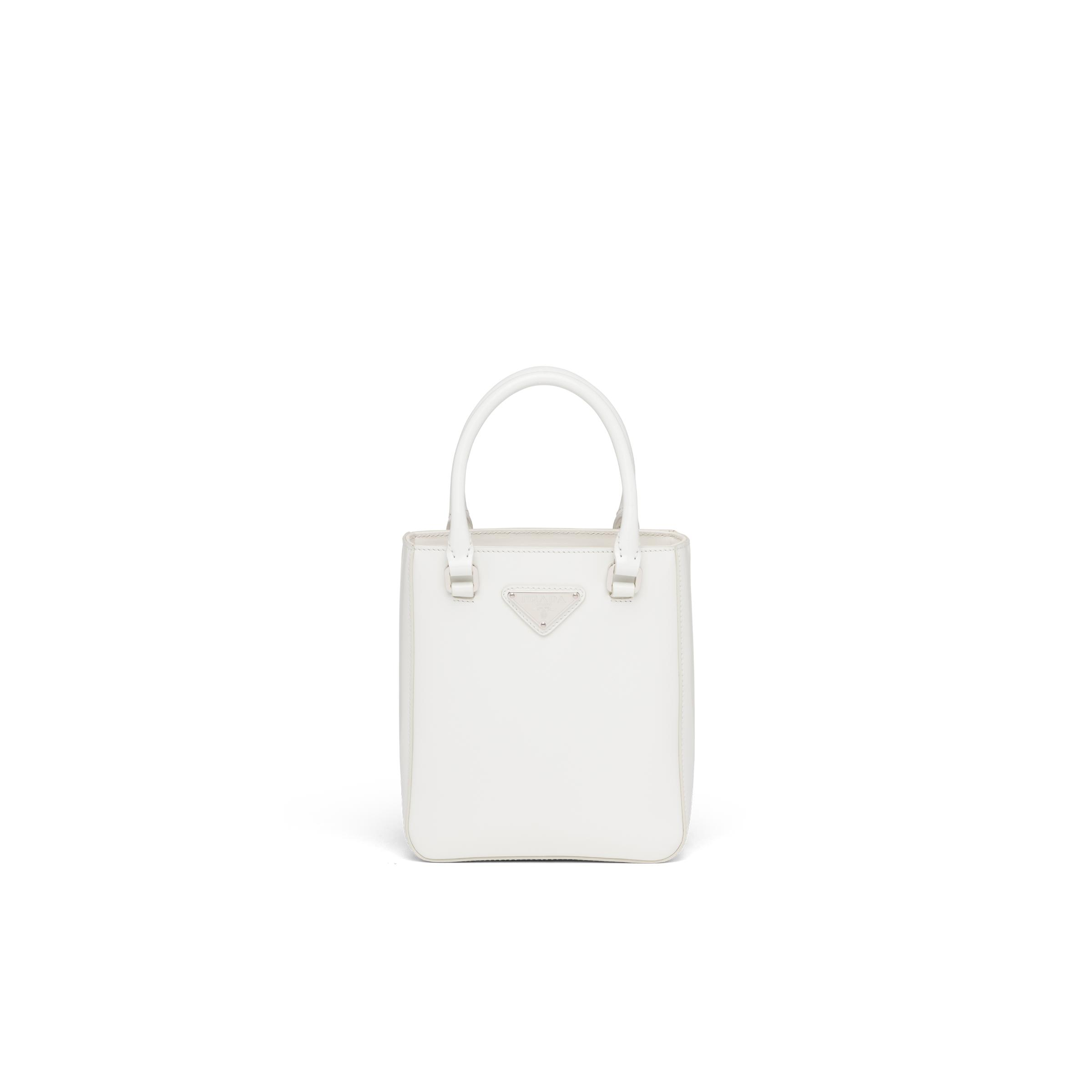 Small Brushed Leather Tote Women White