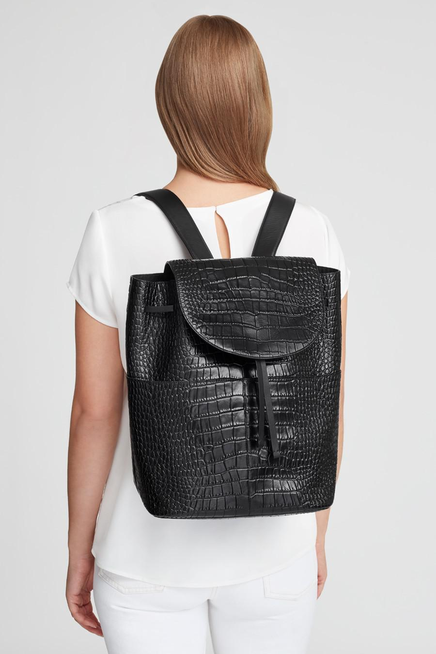 Women's Large Leather Backpack in Textured Black | Croc-Embossed by Cuyana 5