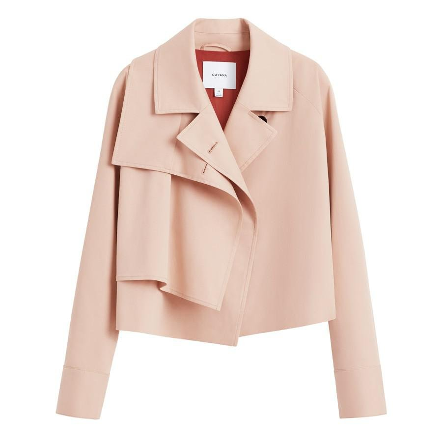 Women's Cropped Trench in Soft Rose | Size: S/M | Cotton Elastane Blend by Cuyana