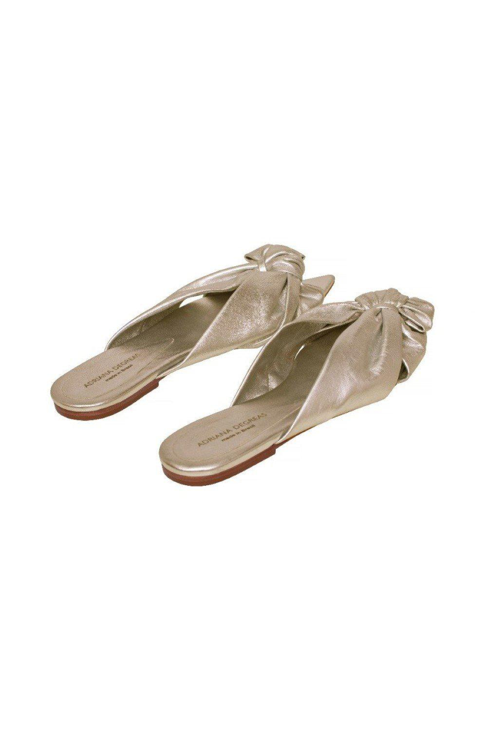 Golden Flat Sandals With Knot Detail