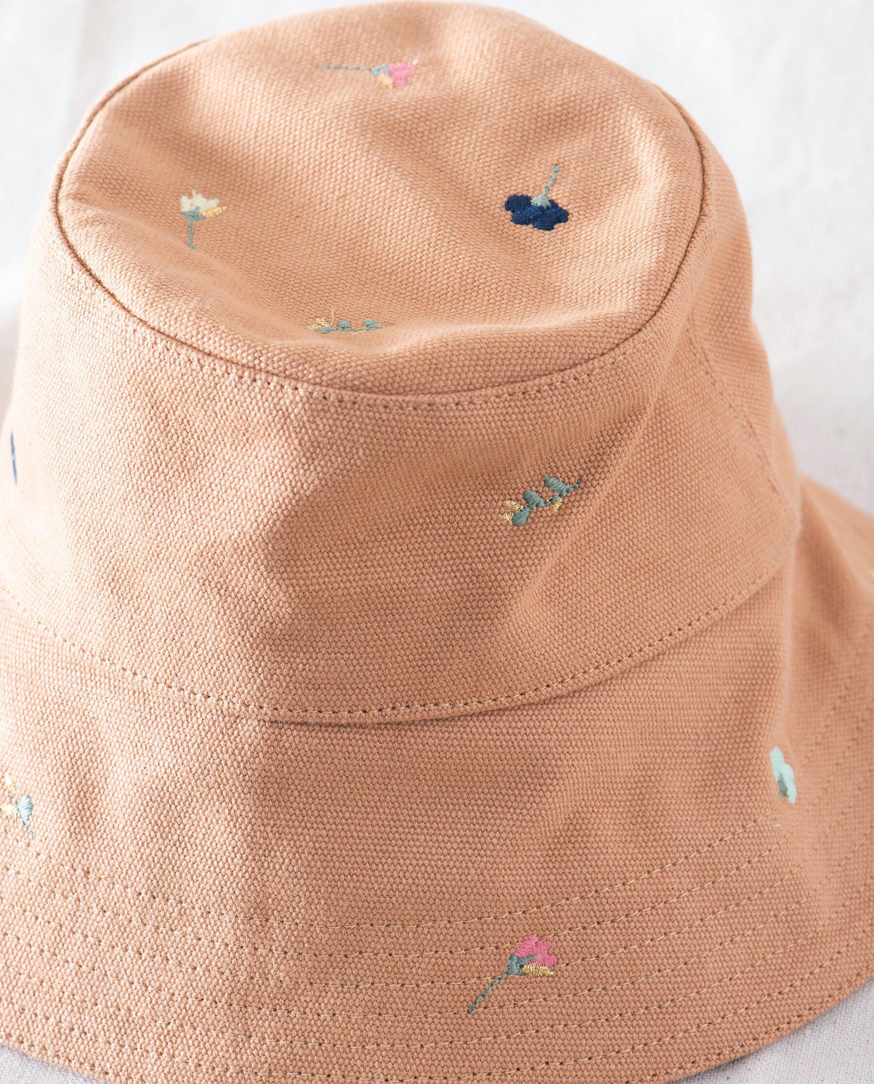 The Bucket Hat. -- Camel with Tossed Floral Embroidery 2