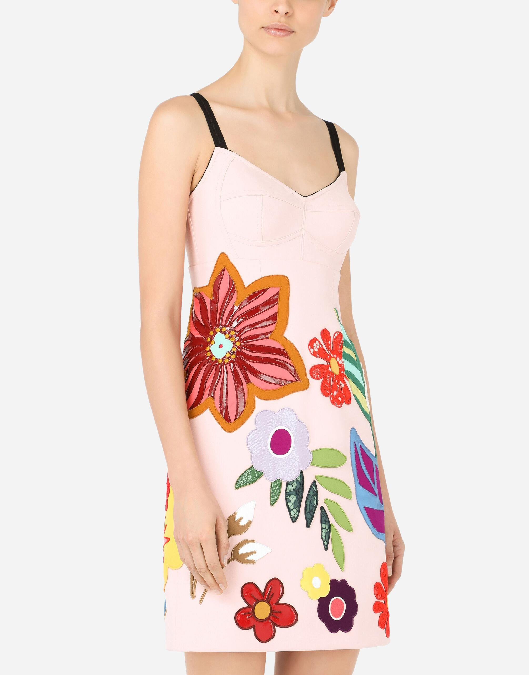 Short cady slip dress with floral patches 2