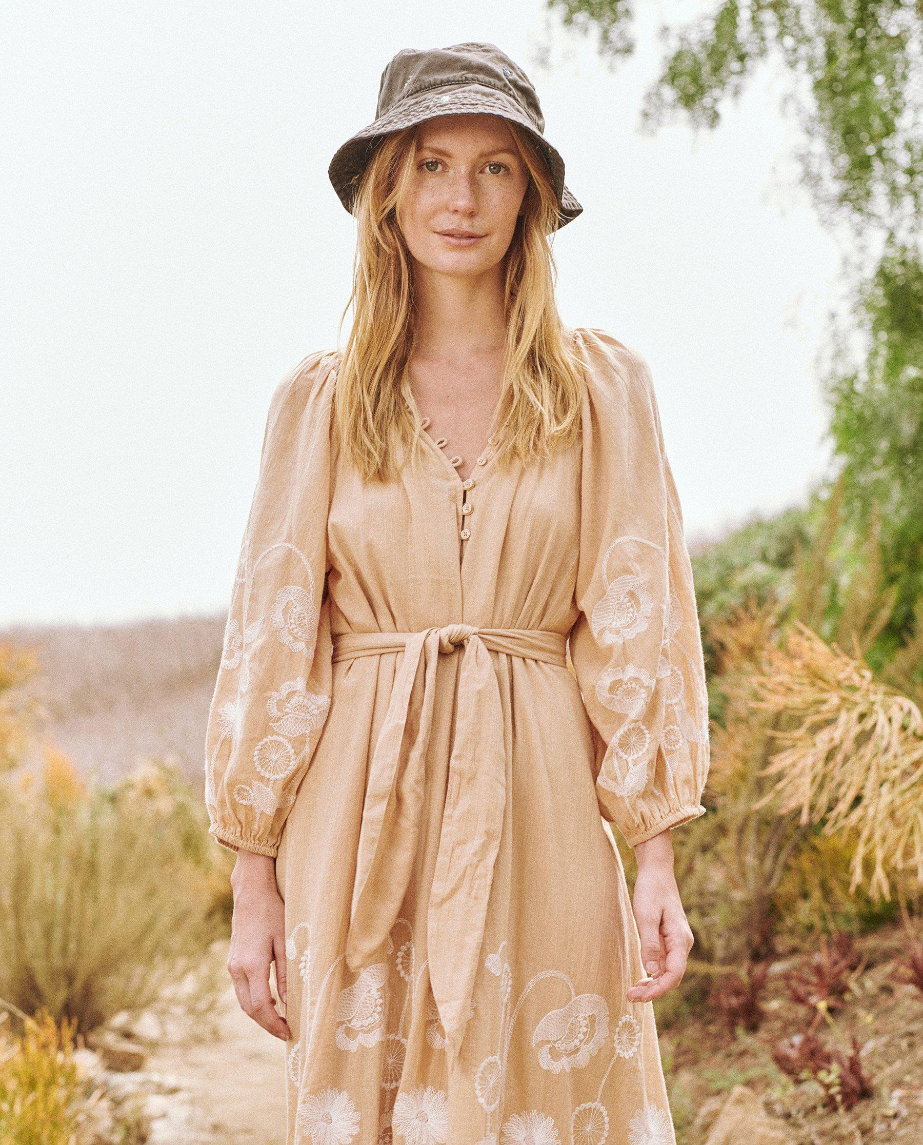 The Derby Dress. -- Wheat with Trellis Floral Embroidery
