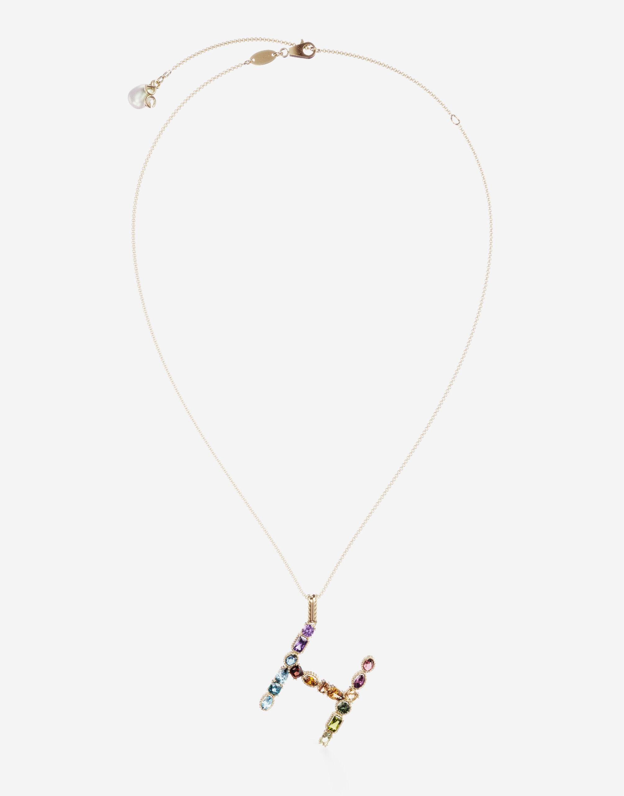 Rainbow alphabet H pendant in yellow gold with multicolor fine gems