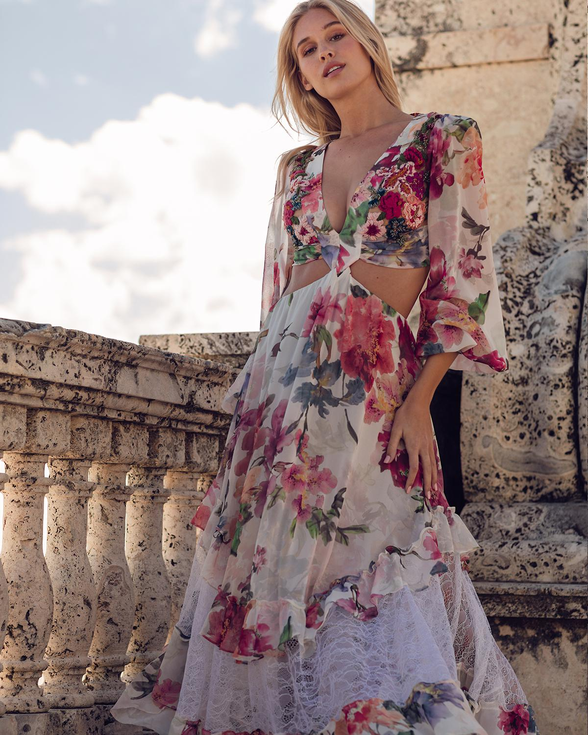 Floral Print Beaded Cut-Out Dress