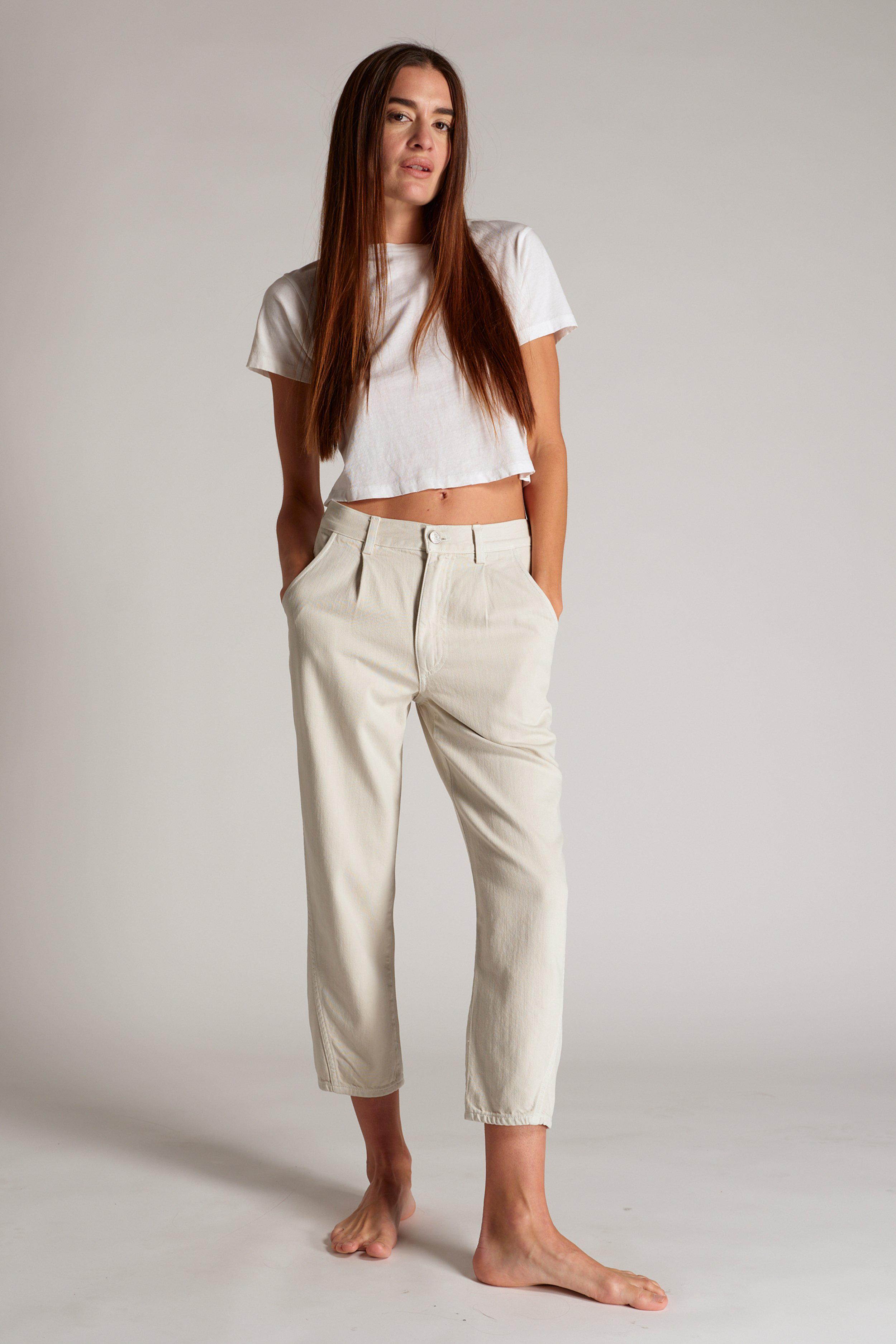 PLEATED SLOUCH TROUSER VINTAGE WHITE