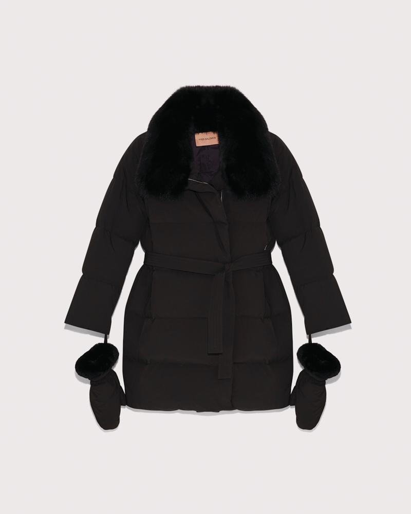 belted down jacket with fox collar 5