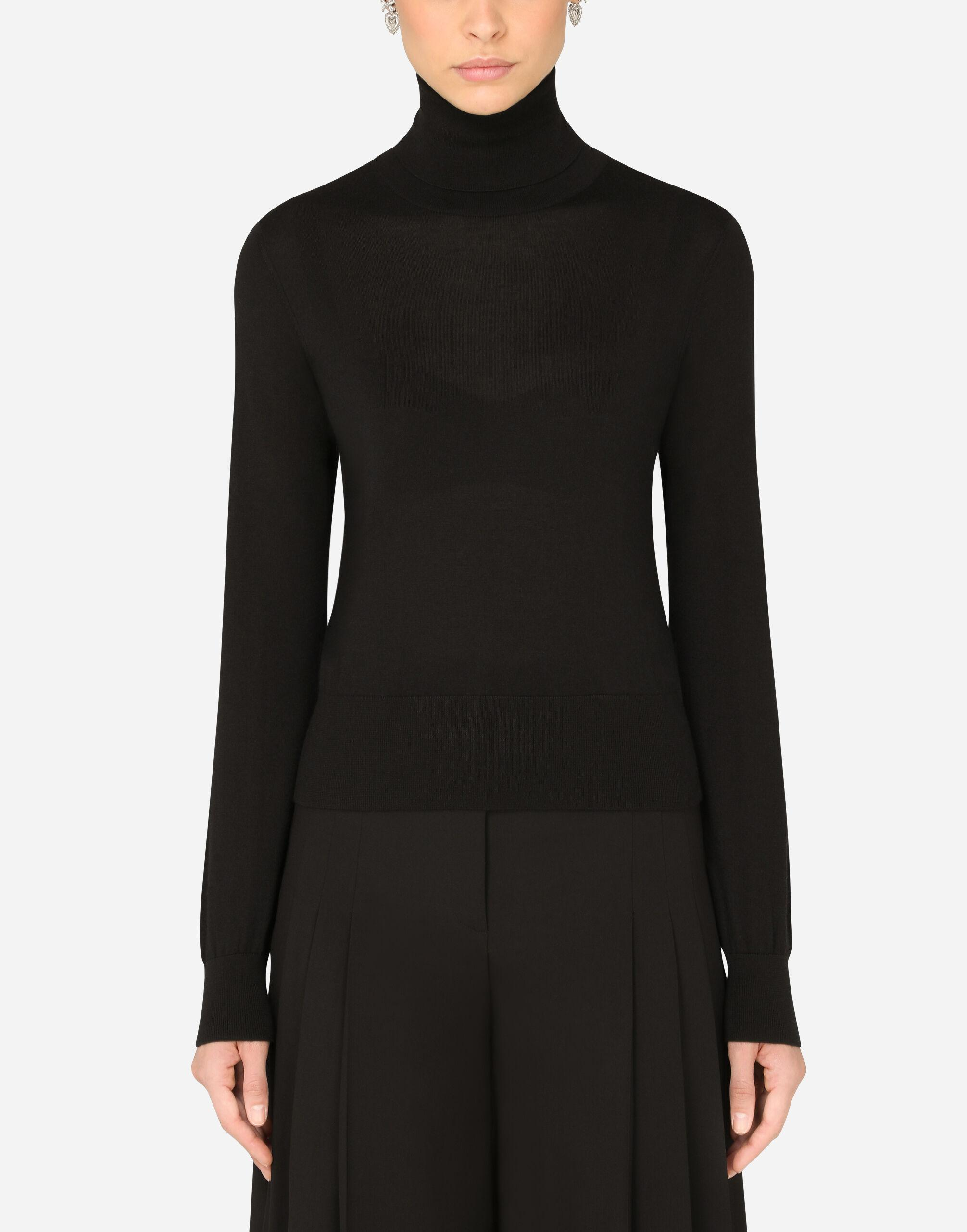 Cashmere and silk turtle-neck sweater
