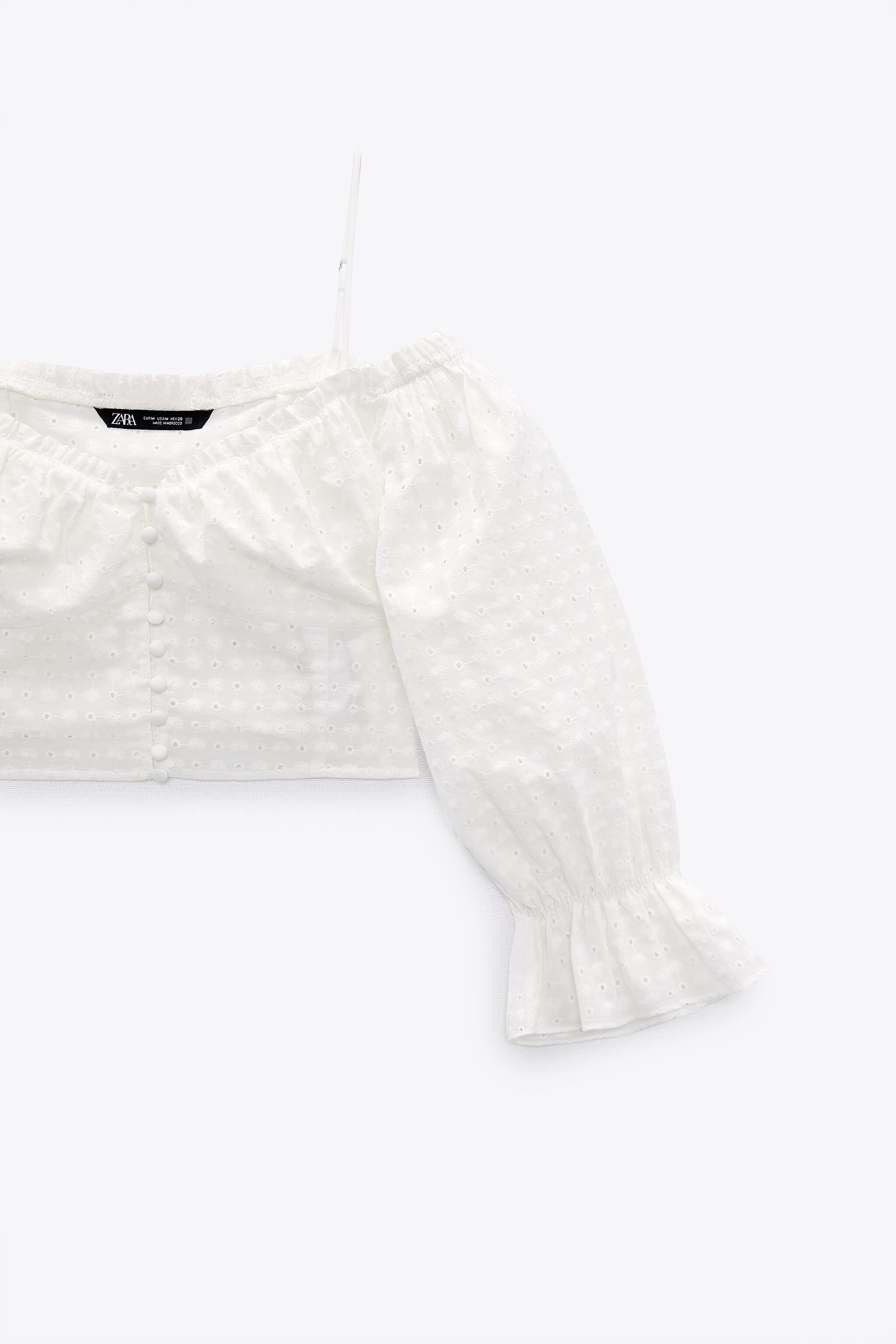 EMBROIDERED EYELET CROP TOP 9