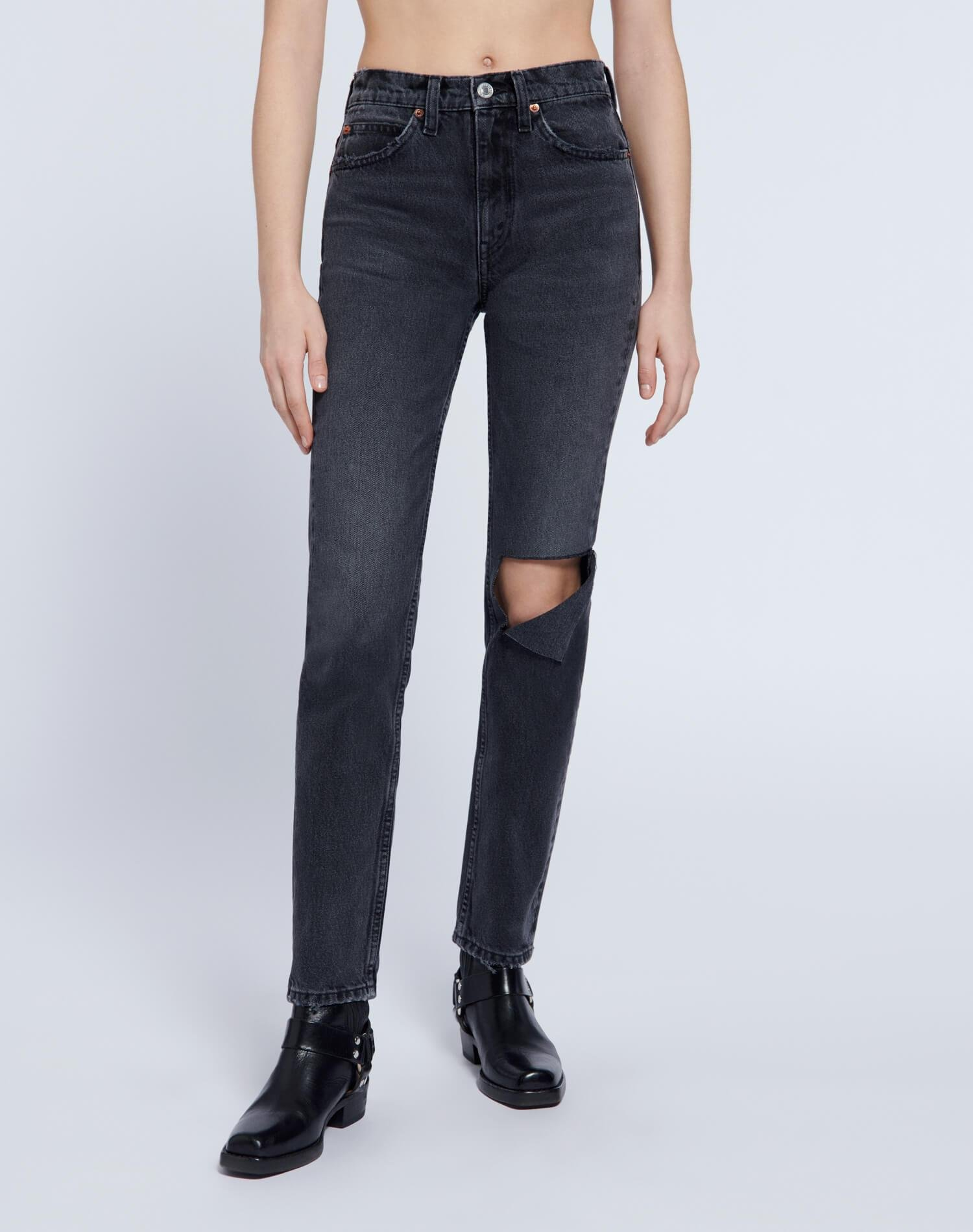 70s Straight - Worn Black with Rips