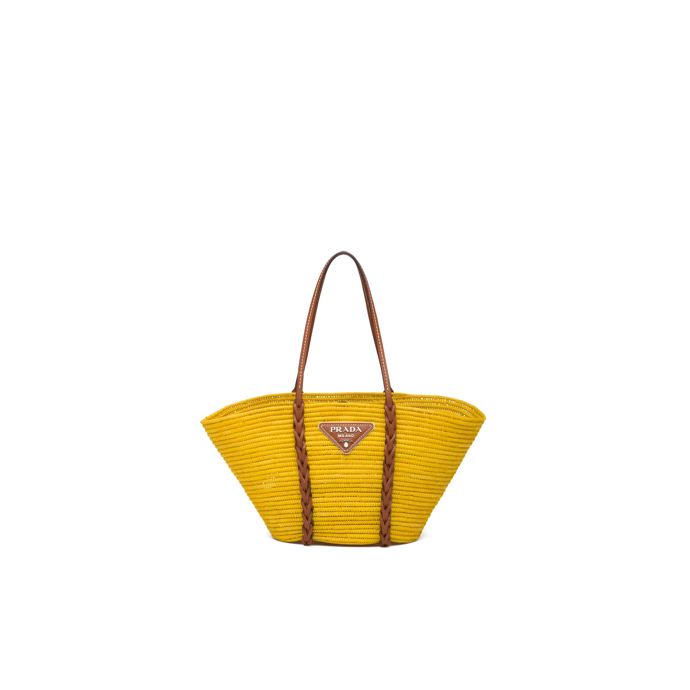 Straw And Leather Tote Women Sunny Yellow/cognac
