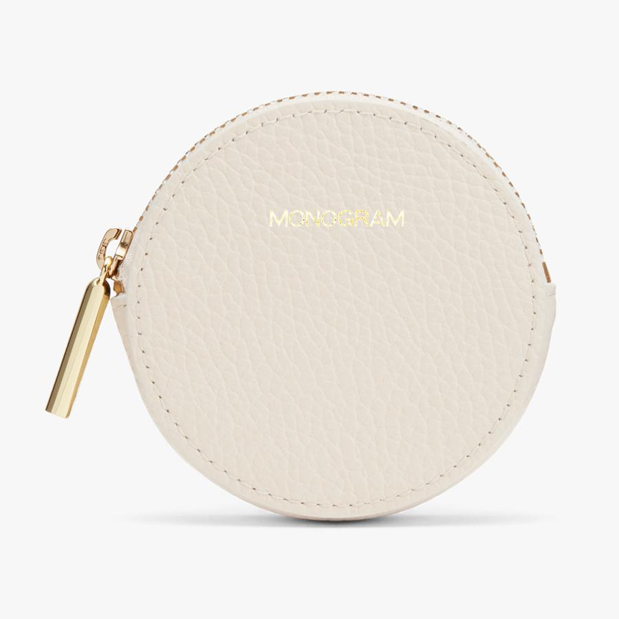 Women's Leather Coin Pouch in Ecru | Pebbled Leather by Cuyana 3