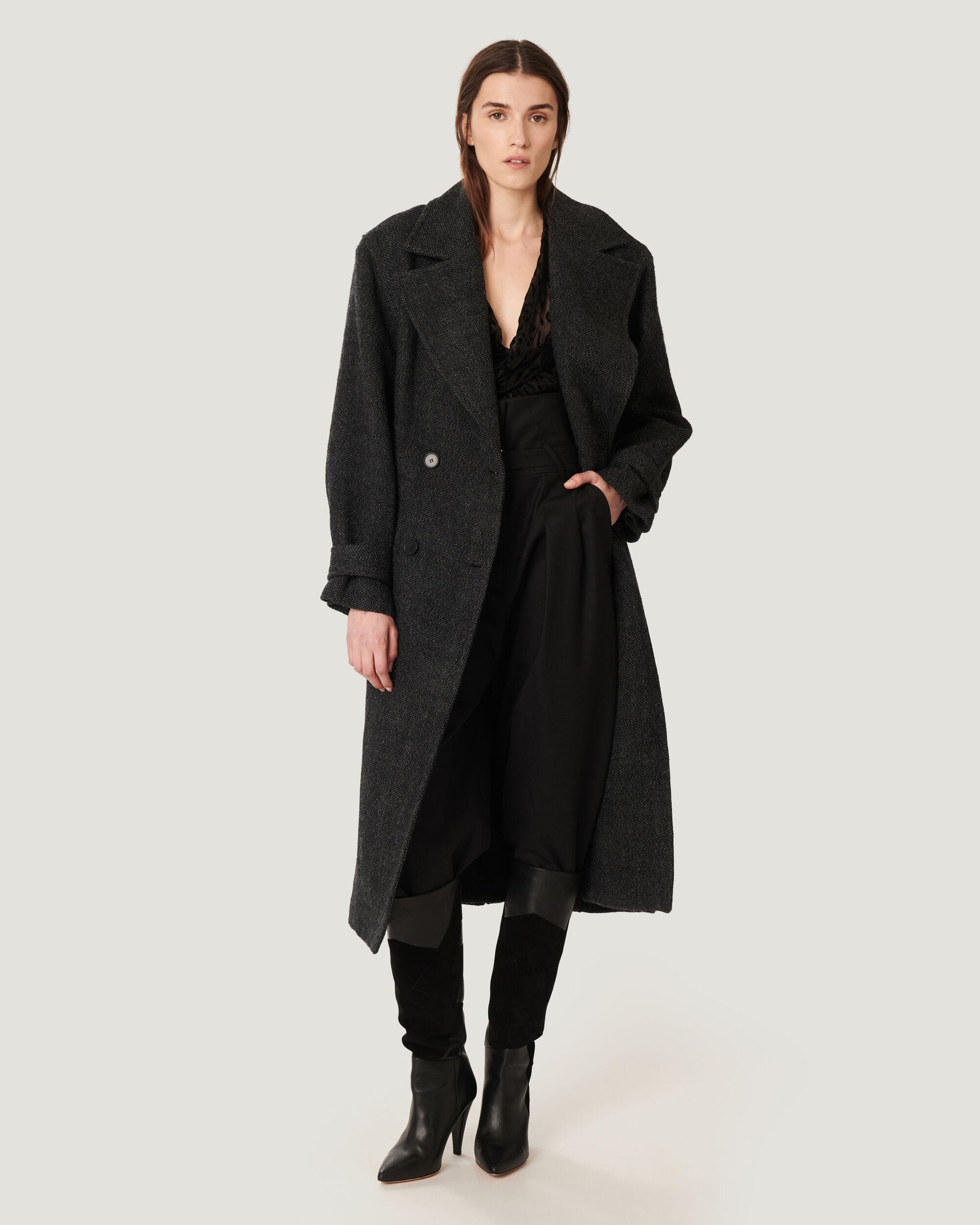 VIBI LONG BELTED WOOL TRENCH COAT