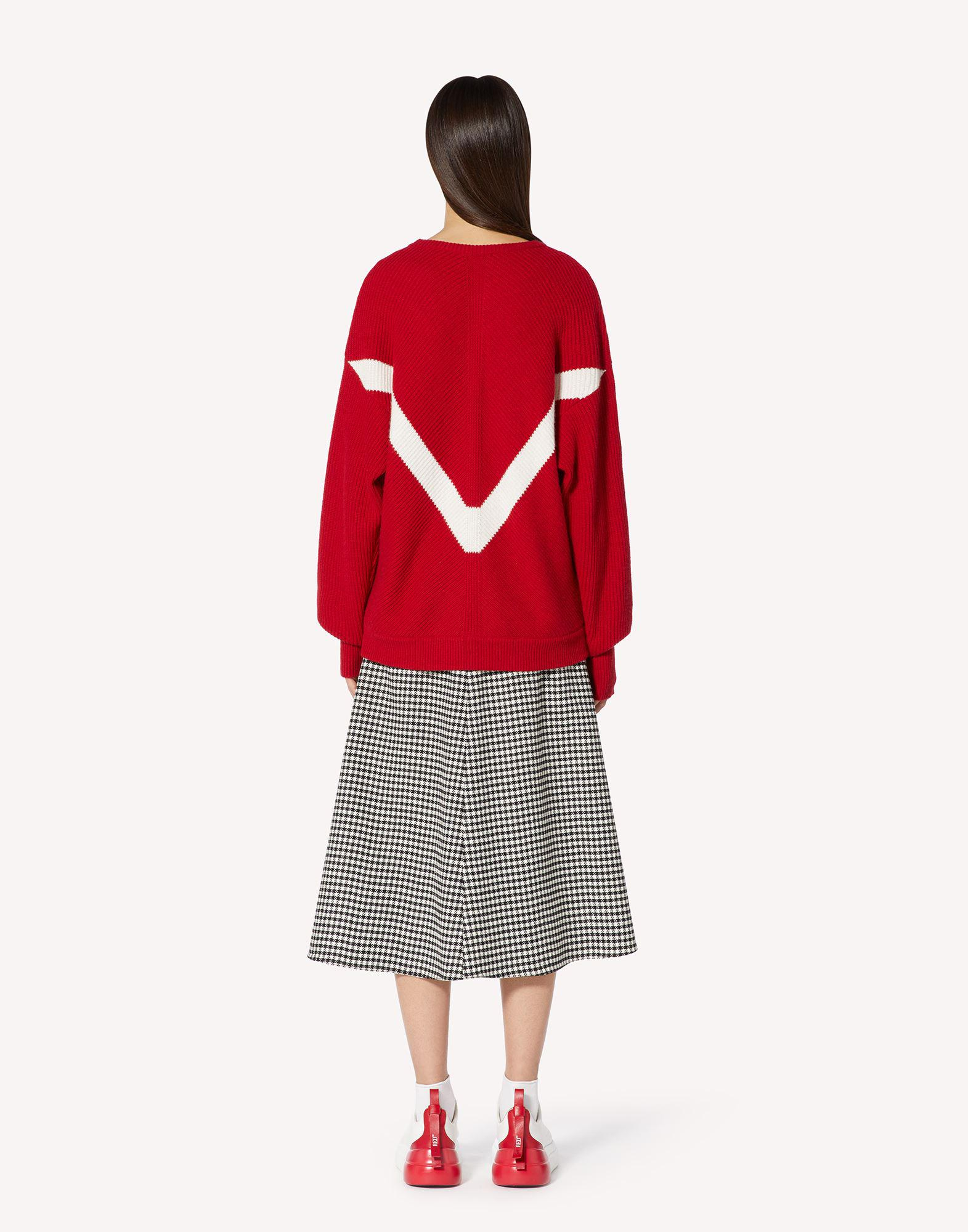 RED EMBROIDERED WOOL-BLEND SWEATER 1