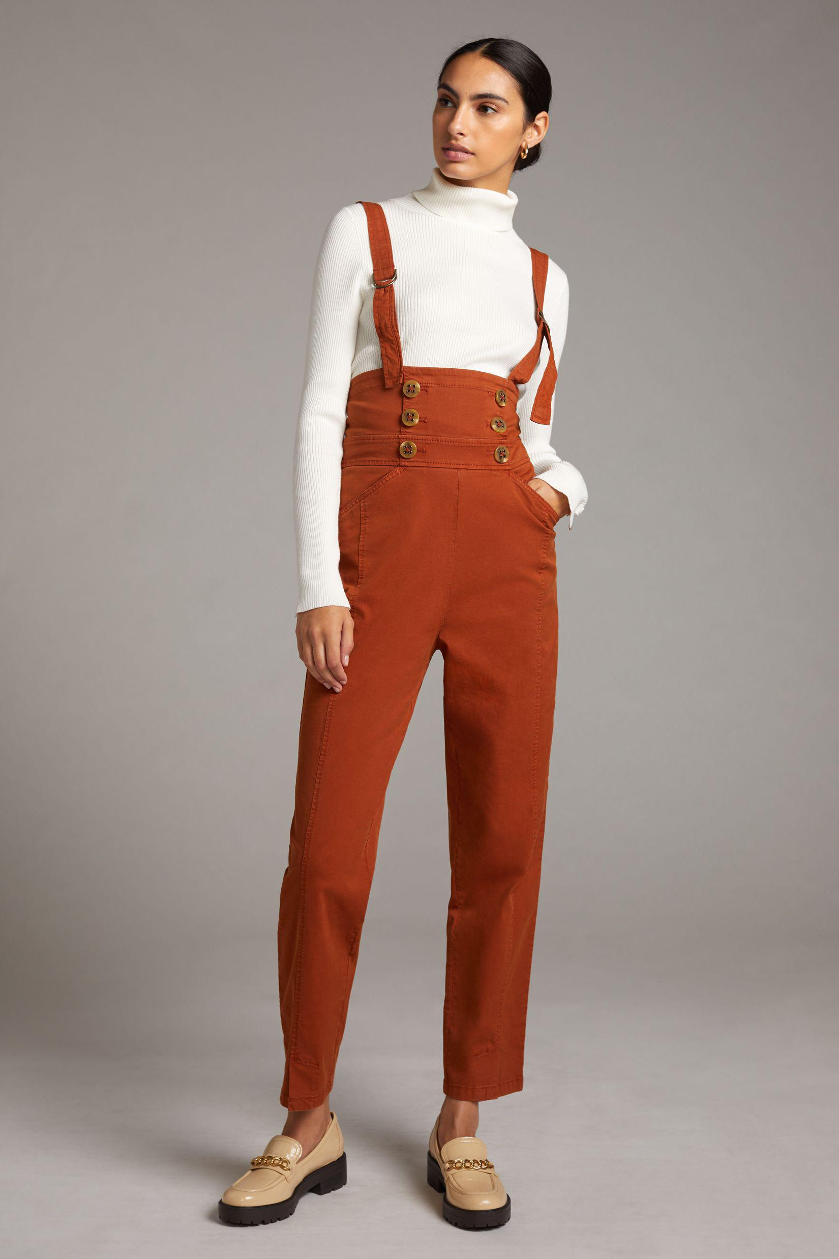 Buttoned Pinafore Jumpsuit