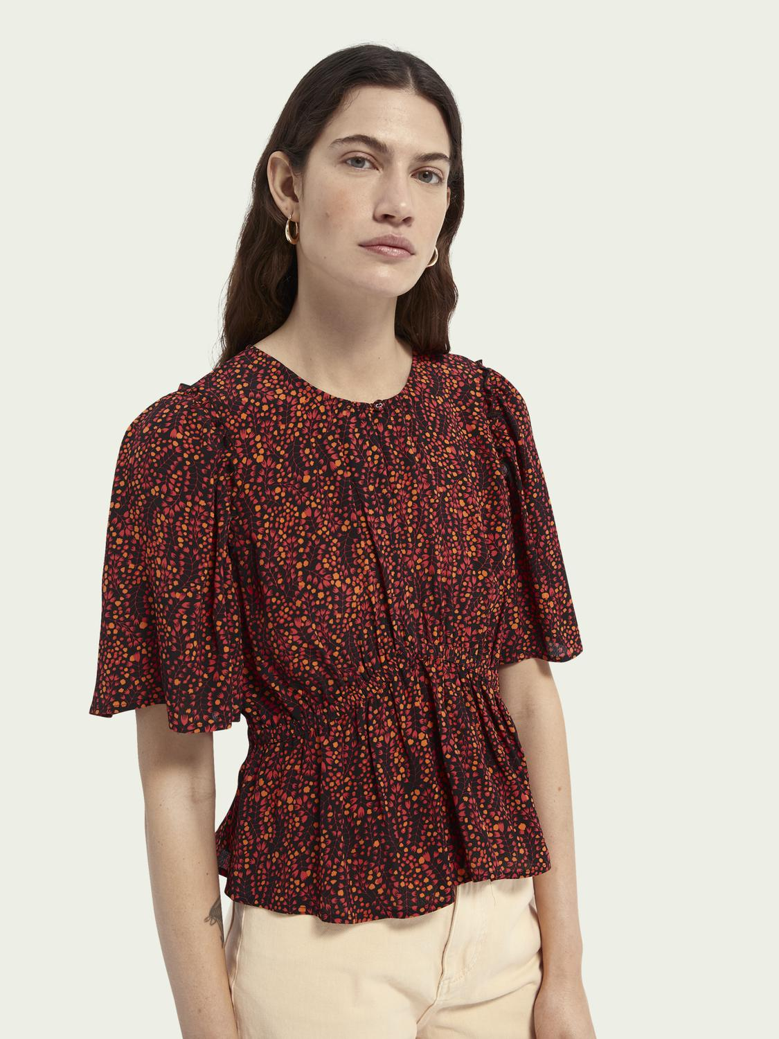 Gathered printed cropped top