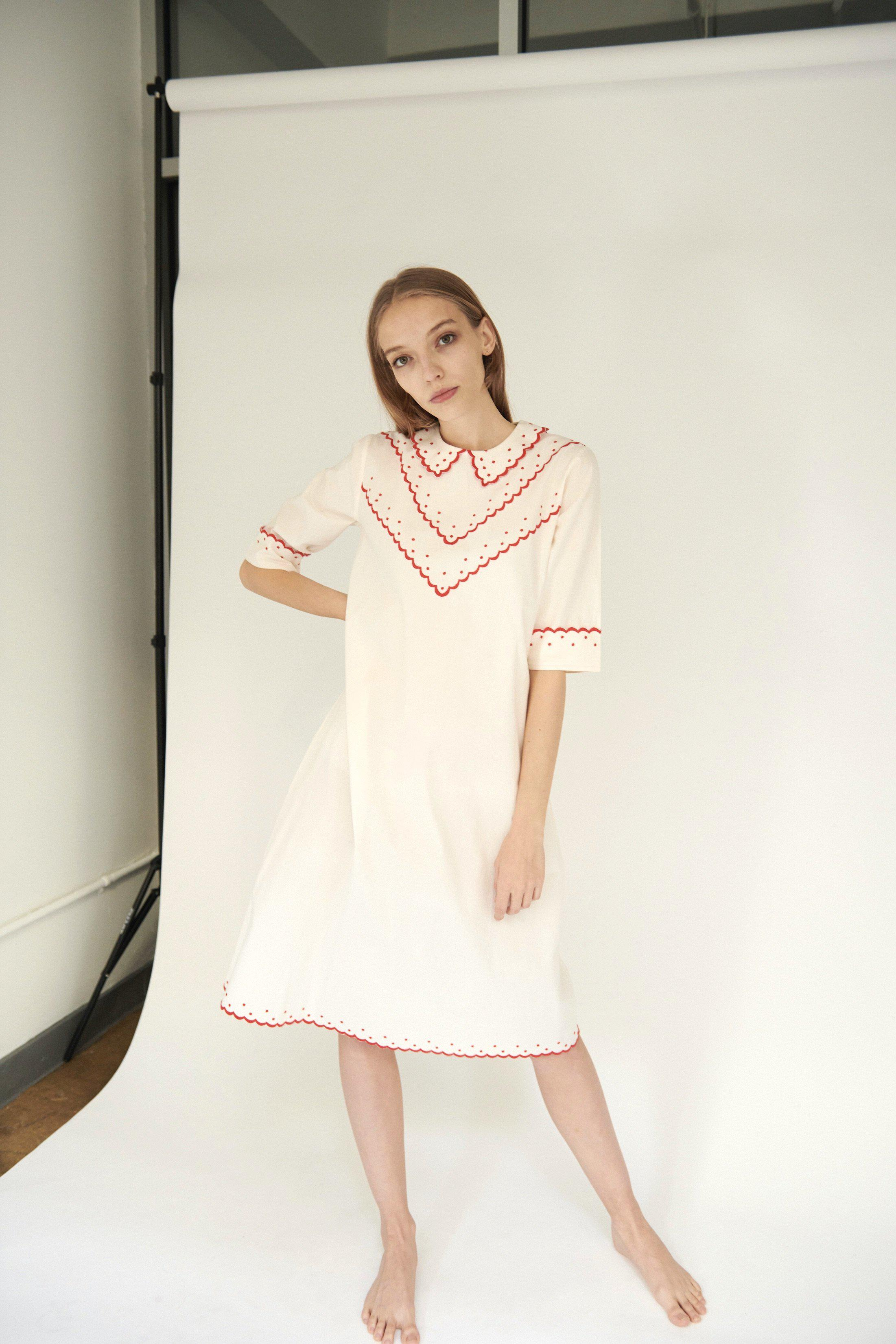 Shirley Dress in Cream with Red Embroidery 0