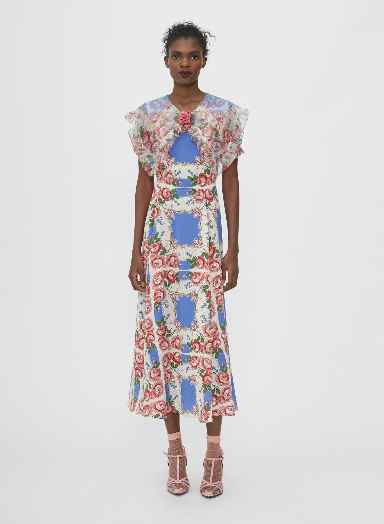 FLORAL PRINTED SILK DRESS WITH RUFFLE COLLAR