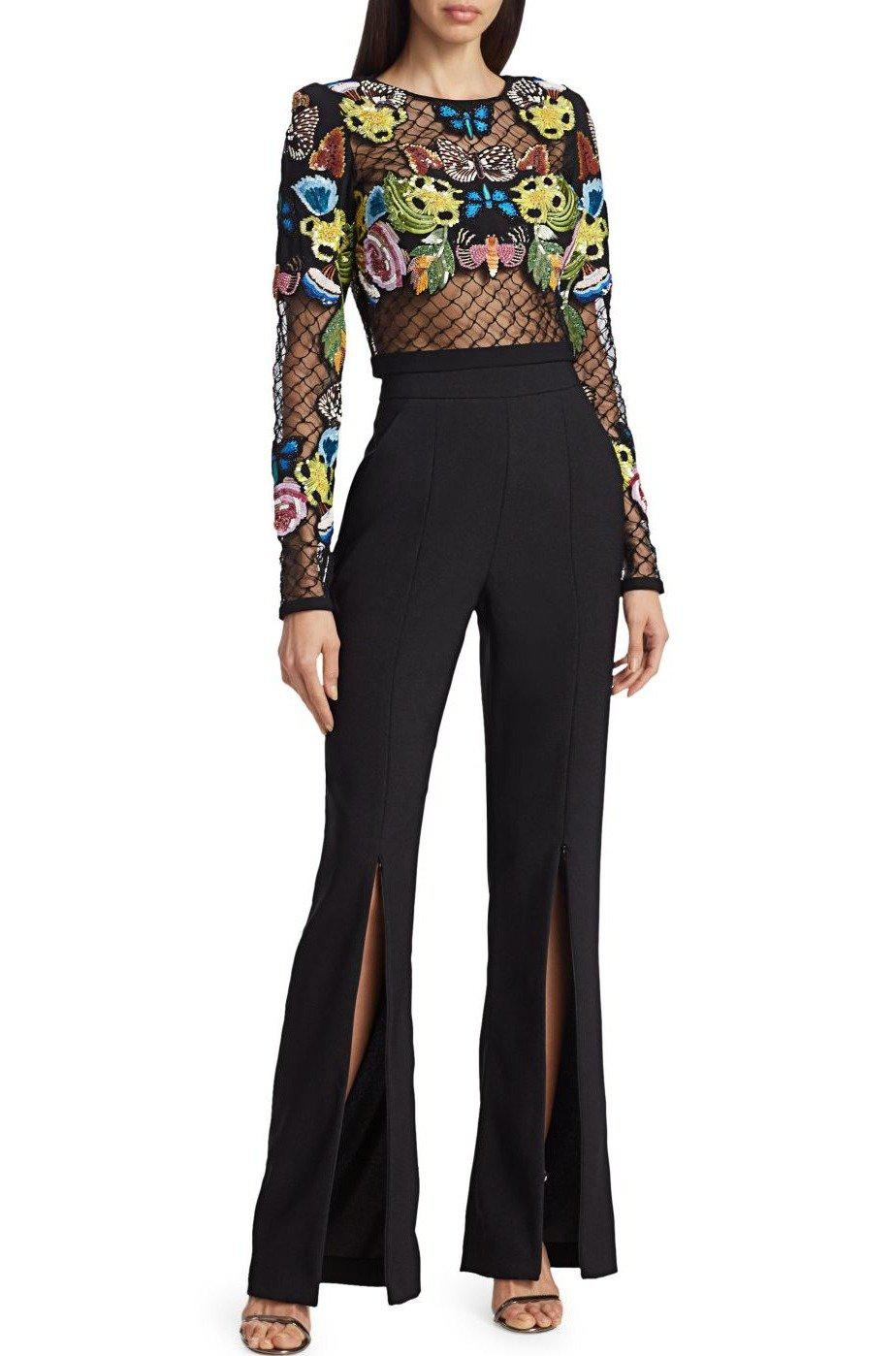 HAND EMBROIDERED MESH TOP
