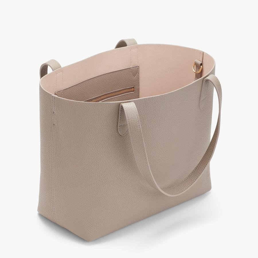 Women's Small Structured Leather Tote Bag in Stone/Blush Pink   Pebbled Leather by Cuyana 1