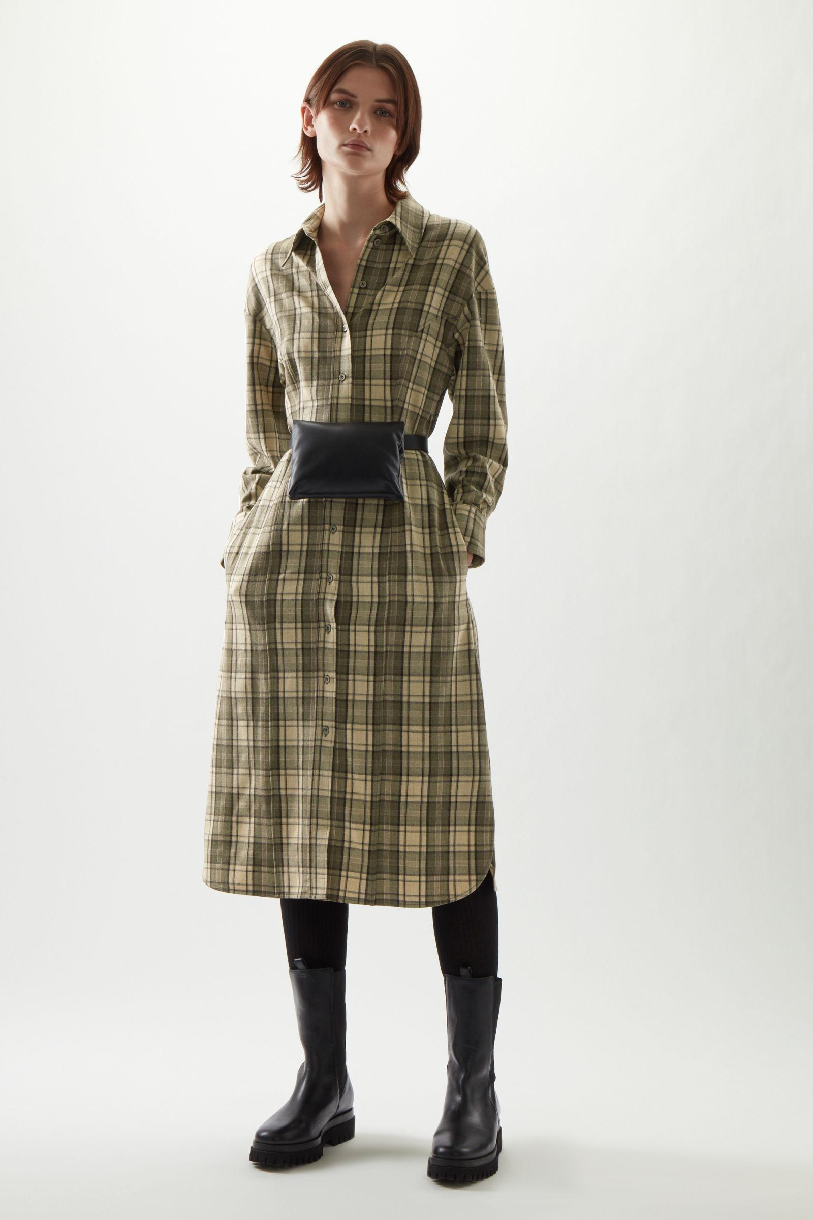 WOOL MIX CHECKED STRUCTURED SHIRT DRESS