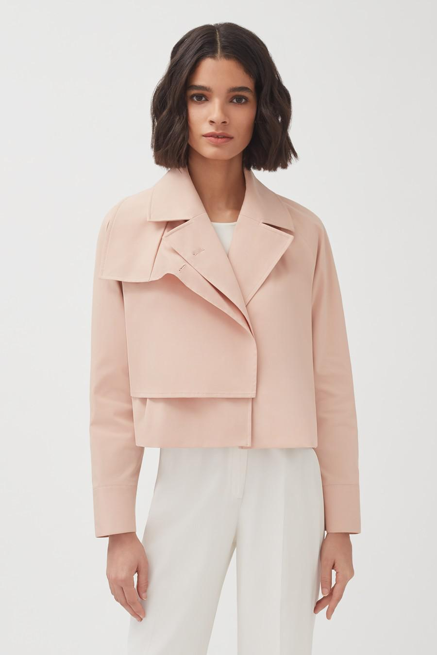 Women's Cropped Trench in Soft Rose | Size: S/M | Cotton Elastane Blend by Cuyana 1