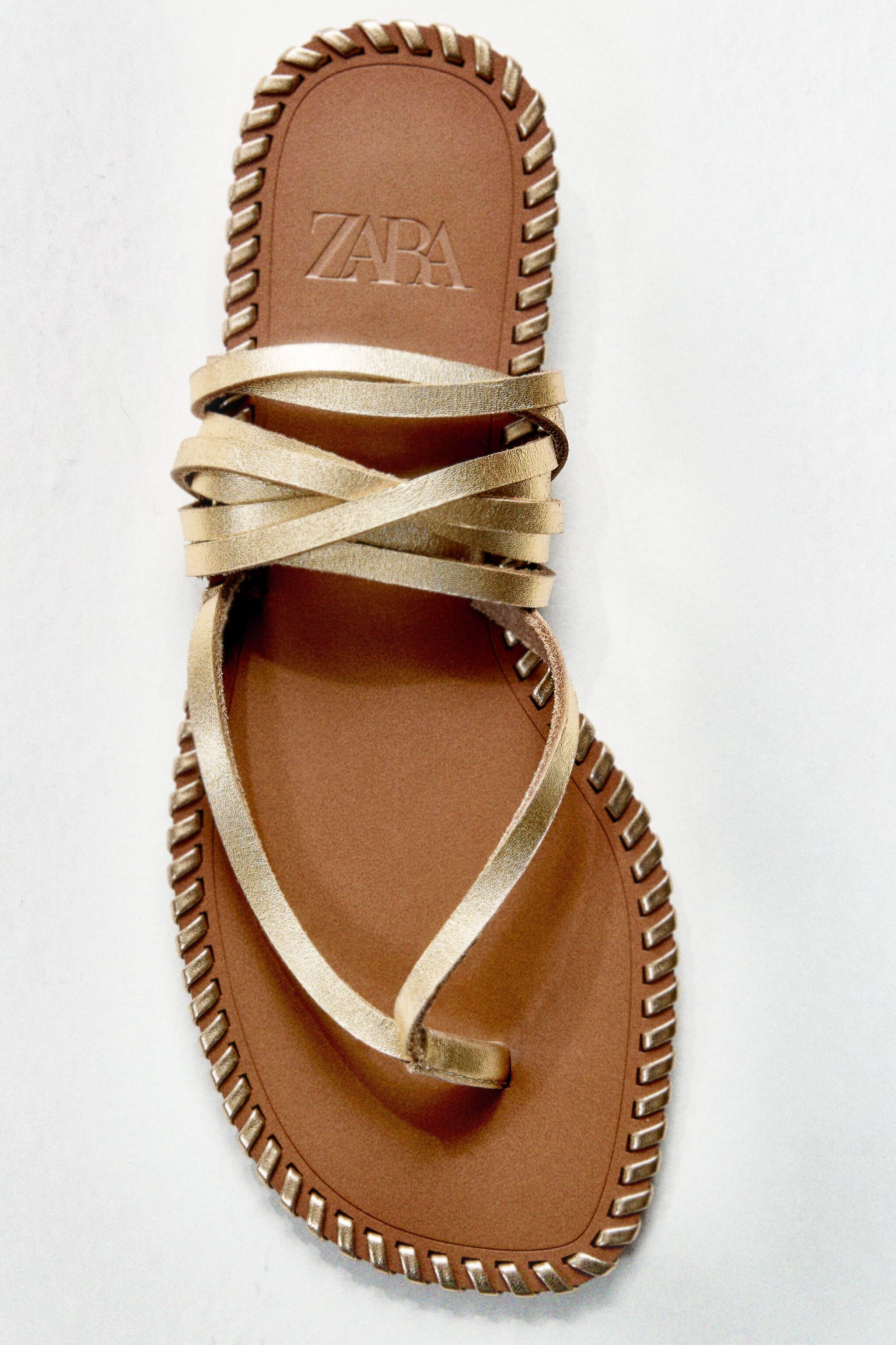 TOPSTITCHED LOW HEEL LEATHER SANDALS WITH ANKLE TIE 3