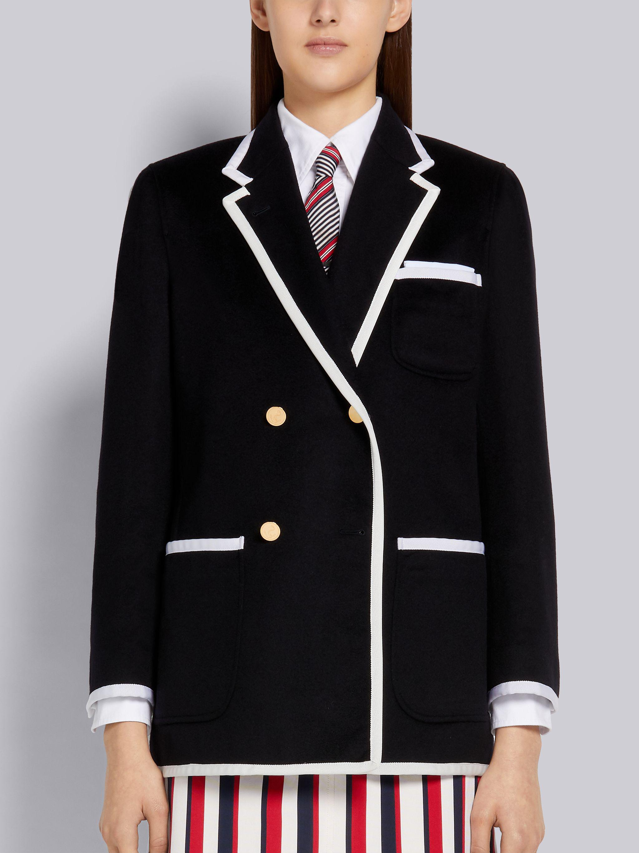Navy Jacket Weight Cashmere Grosgrain Tipping Double Breasted Sack Jacket